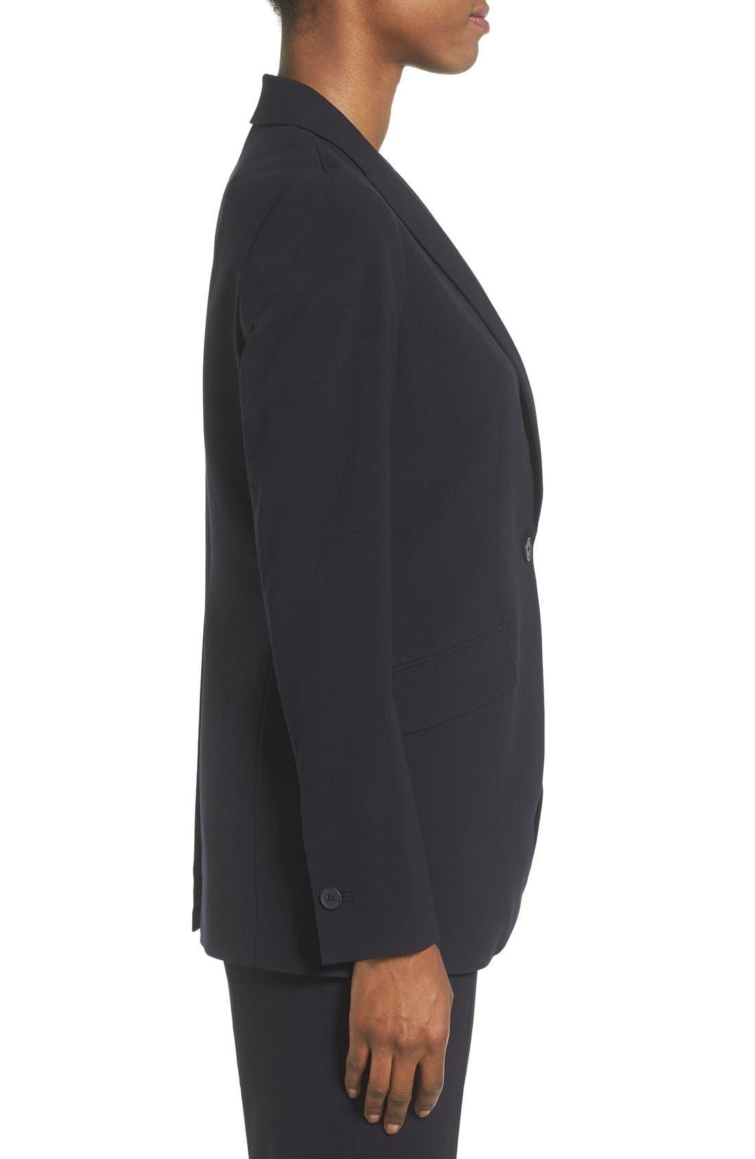 ANNE KLEIN, Long Boyfriend Suit Jacket, Alternate thumbnail 5, color, 001