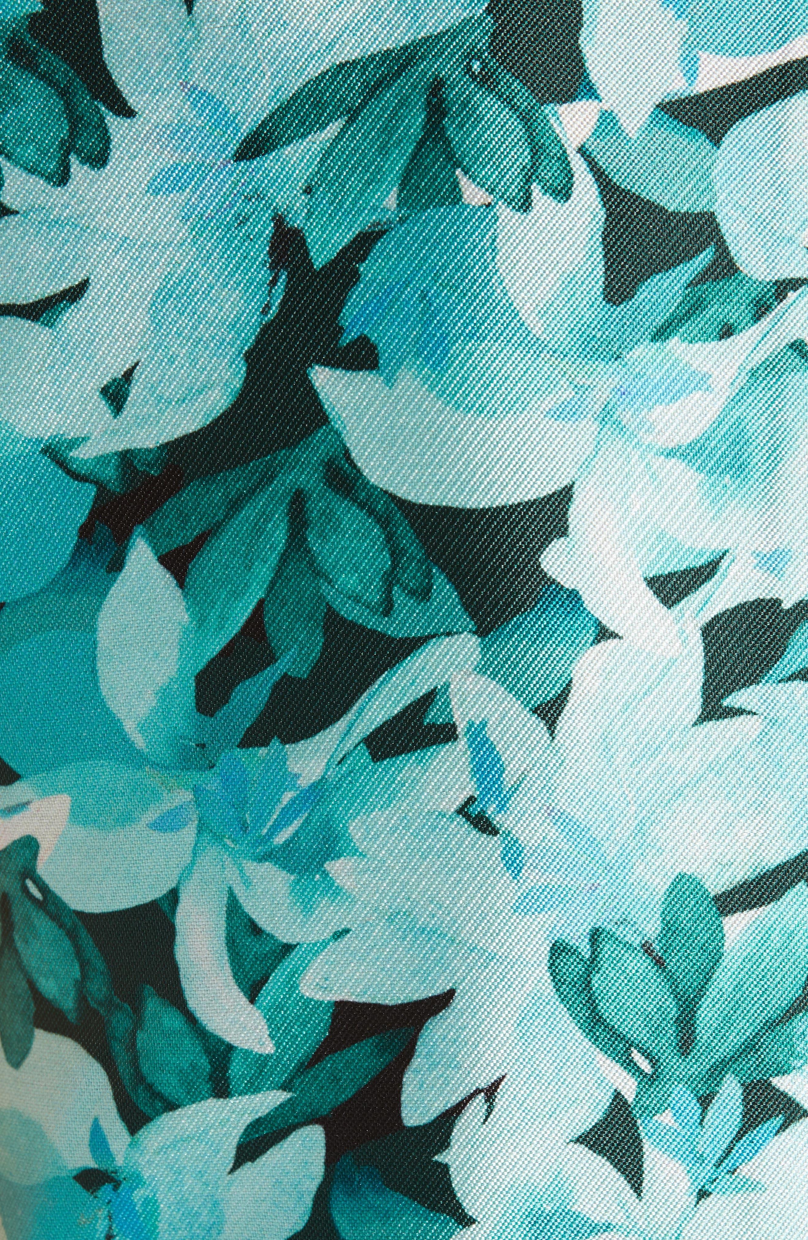 SACHIN & BABI, Brooke Floral Print Gown, Alternate thumbnail 6, color, TEAL