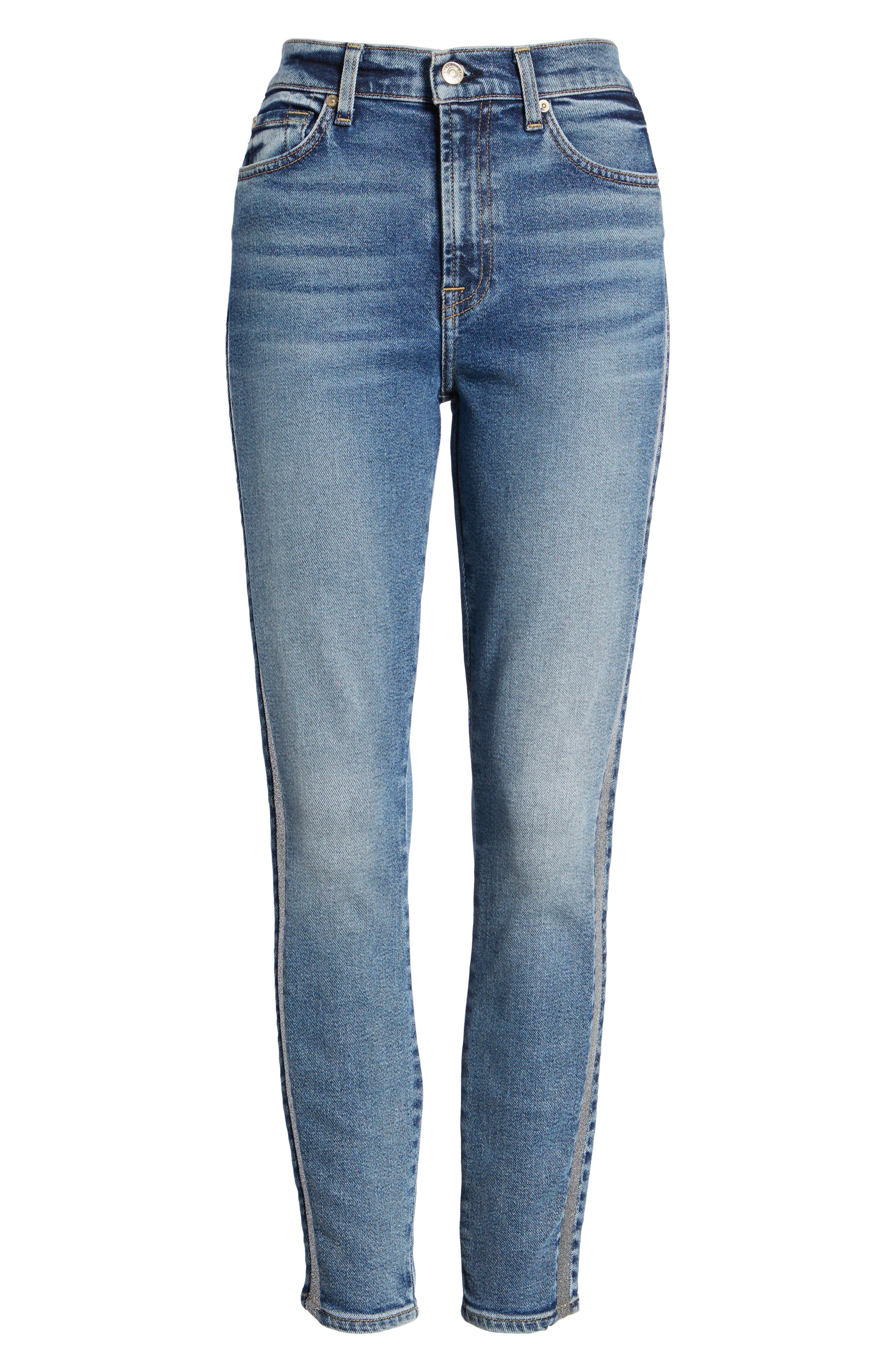 7 FOR ALL MANKIND<SUP>®</SUP>, Luxe Vintage Side Stripe High Waist Ankle Skinny Jeans, Alternate thumbnail 7, color, 401