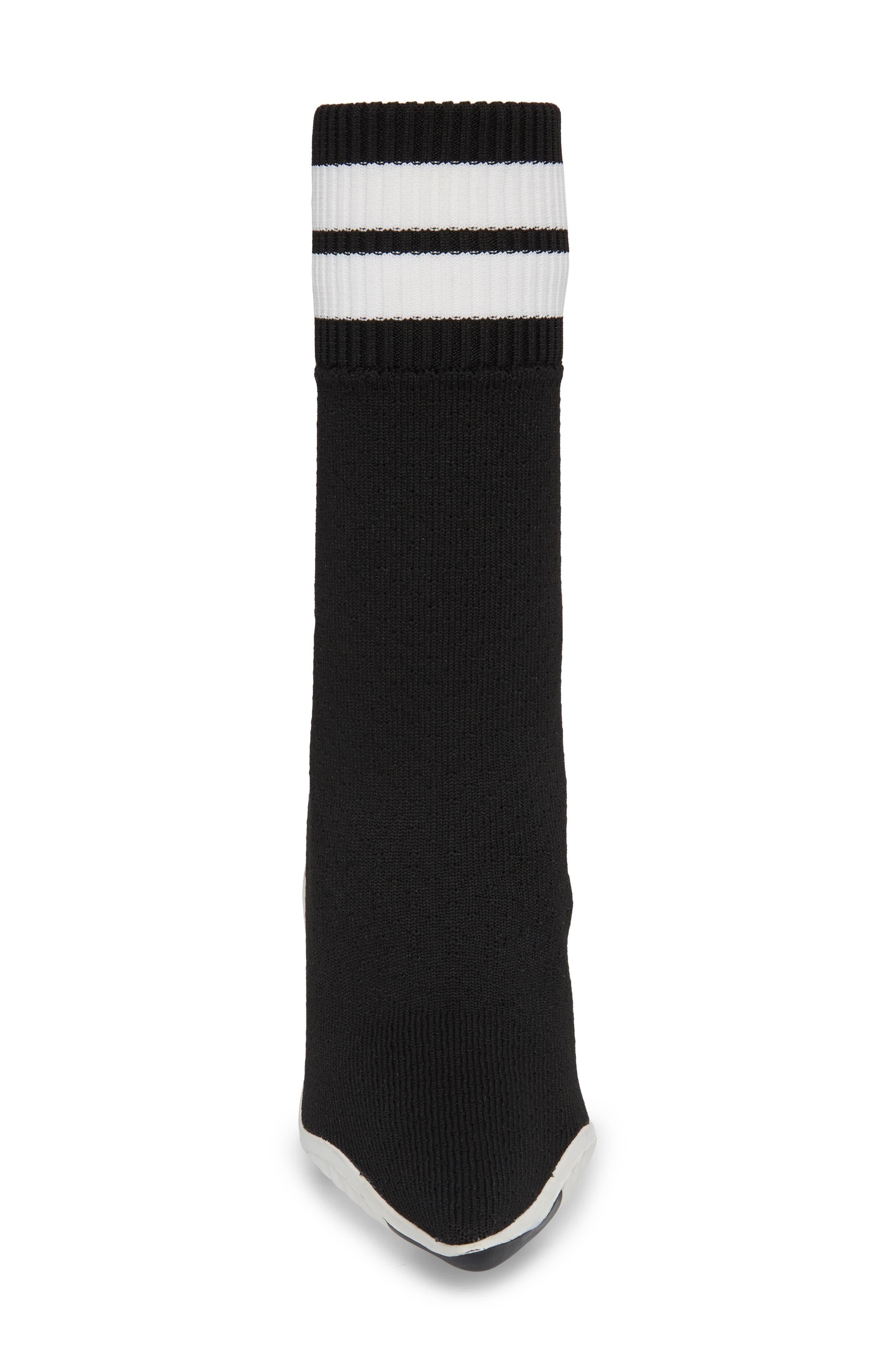 JEFFREY CAMPBELL, Goal Sock Sneaker Bootie, Alternate thumbnail 4, color, BLACK/ WHITE FABRIC