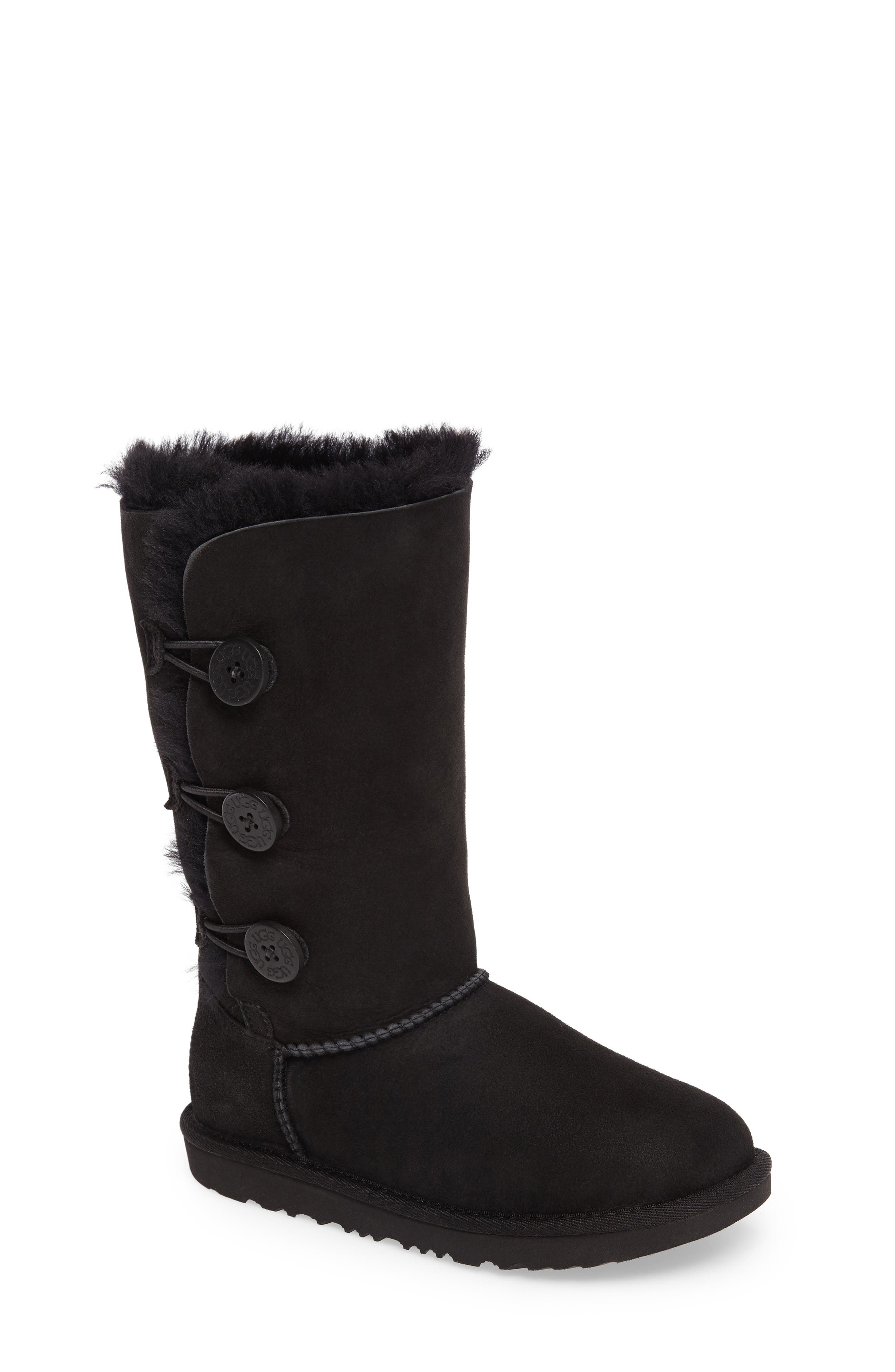 UGG<SUP>®</SUP> Bailey Button Triplet II Genuine Shearling Boot, Main, color, BLACK SUEDE