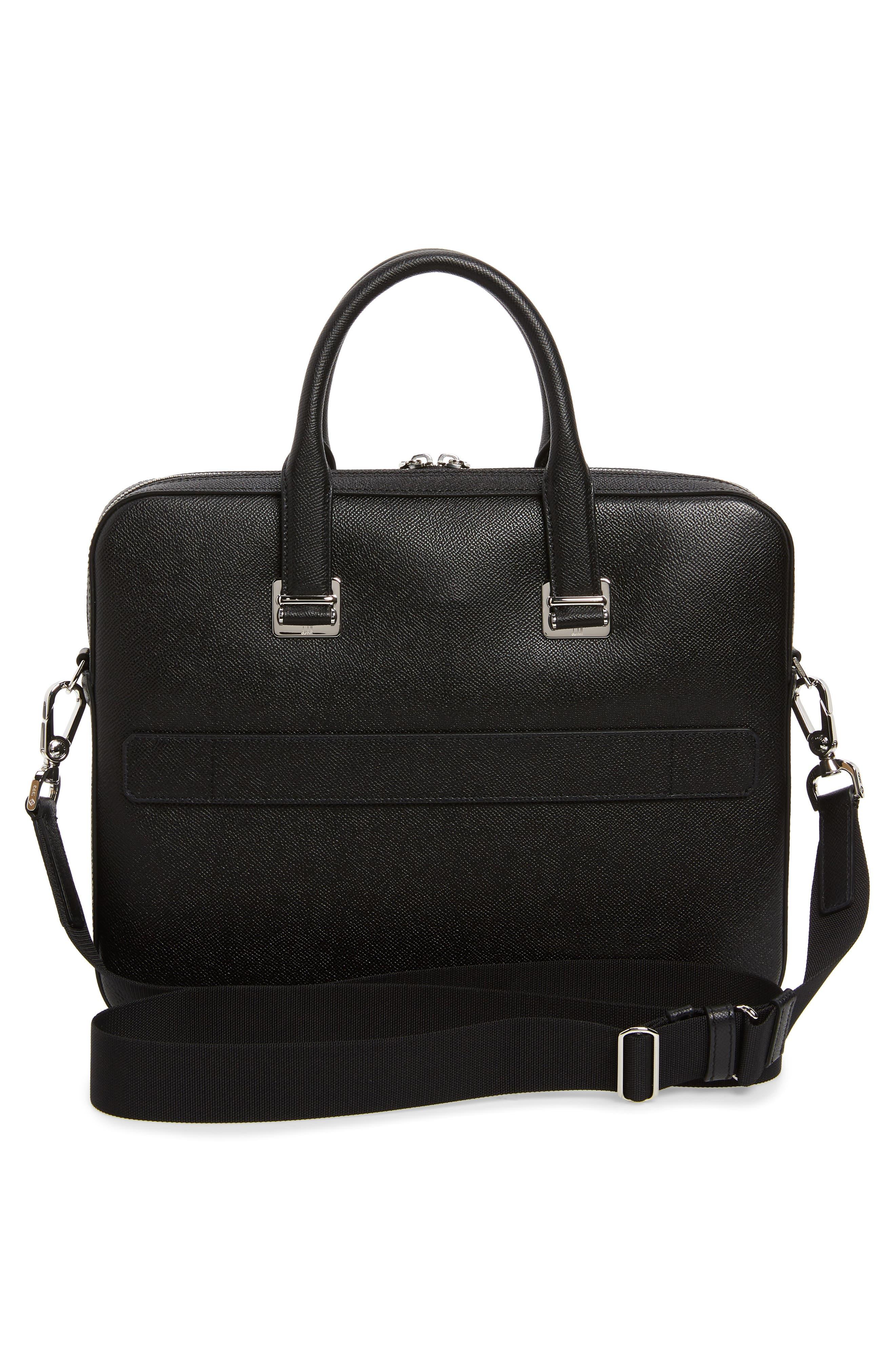 DUNHILL, Cadogan Leather Single Document Case, Alternate thumbnail 3, color, BLACK