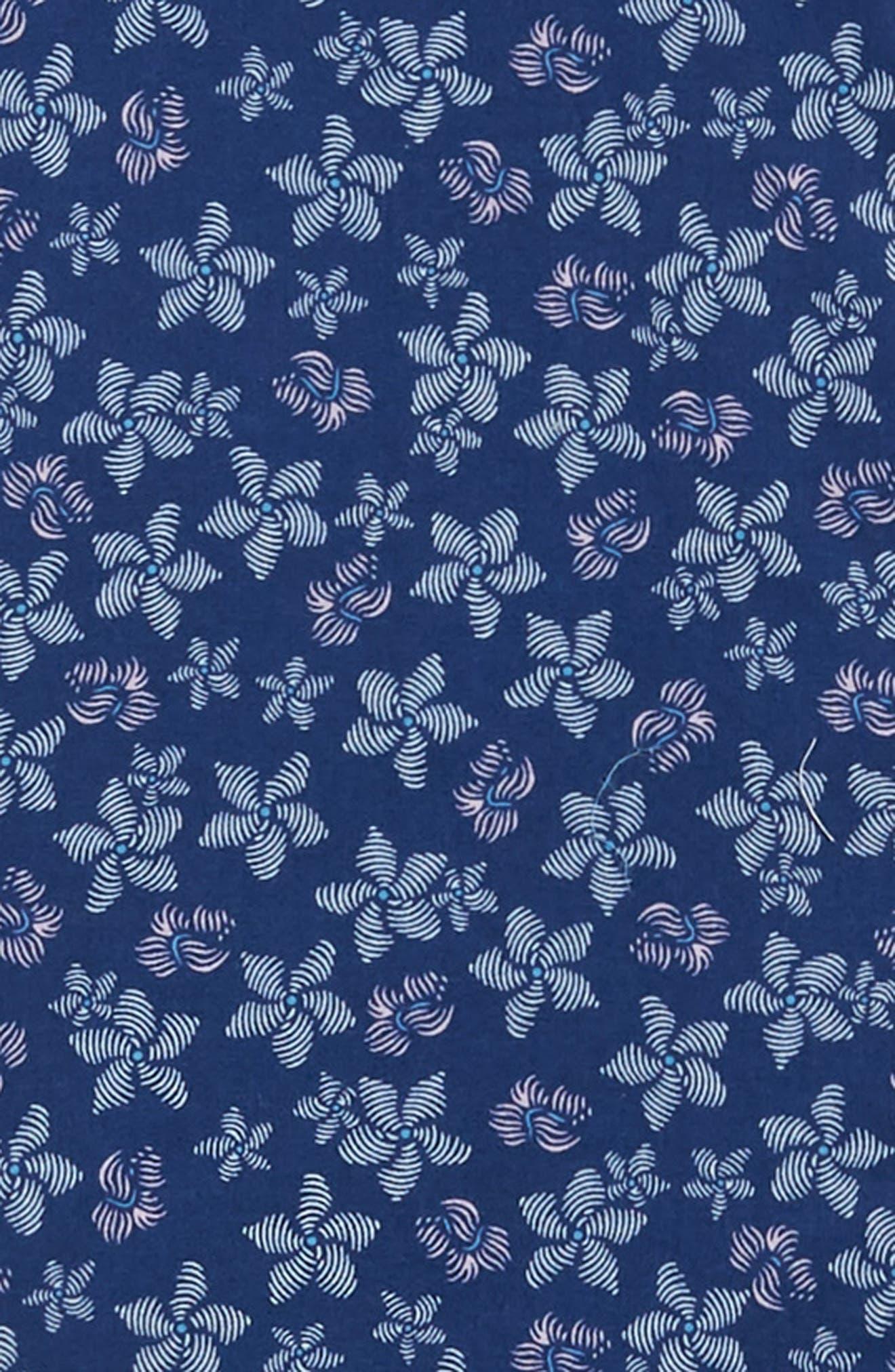 VINEYARD VINES, Murray Slim Fit Floral Print Sport Shirt, Alternate thumbnail 6, color, DEEP BAY