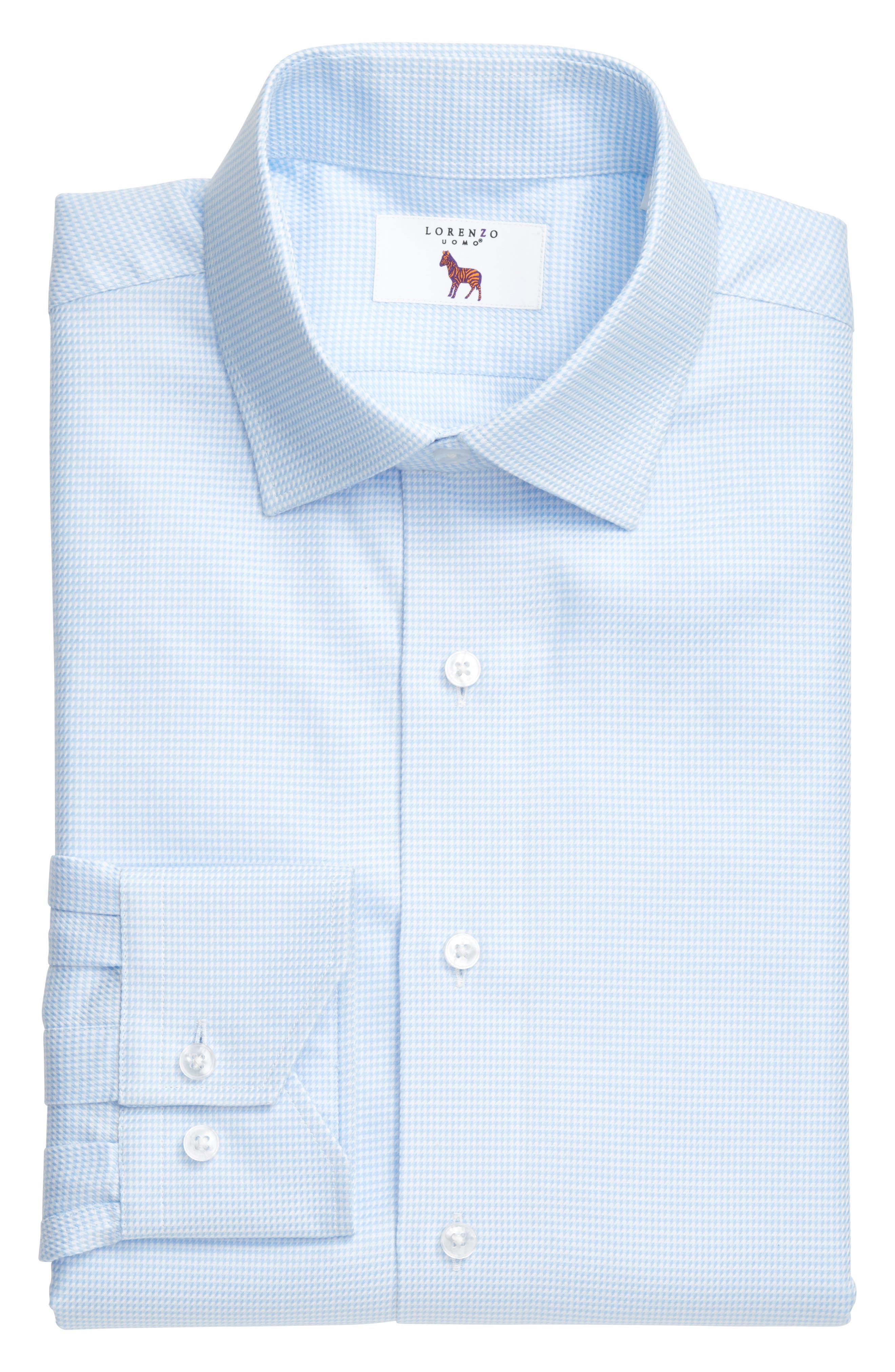 LORENZO UOMO, Trim Fit Houndstooth Dress Shirt, Alternate thumbnail 3, color, LIGHT BLUE