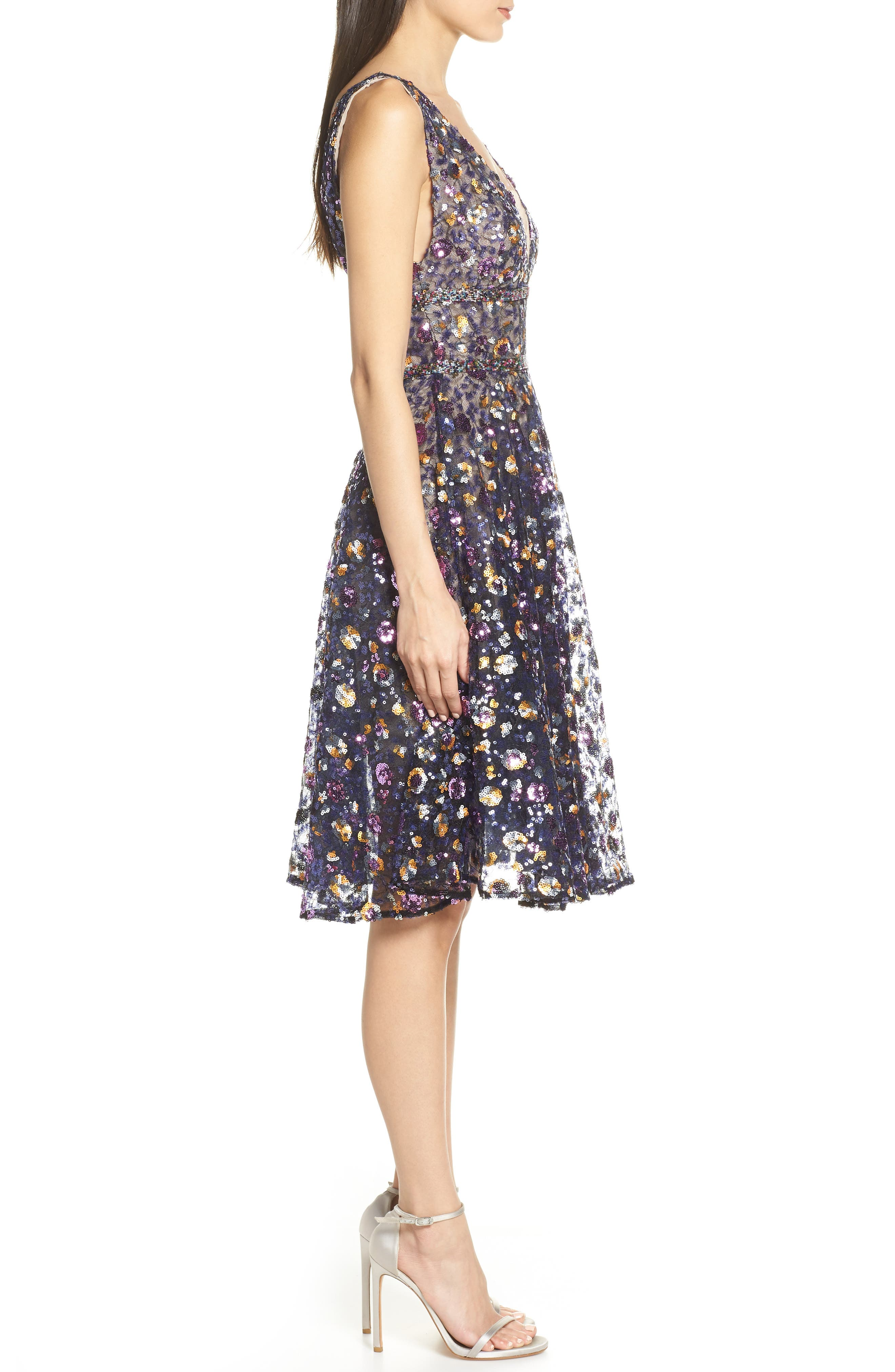 BRONX AND BANCO, Sequin Fit & Flare Dress, Alternate thumbnail 4, color, MULTICOLOR