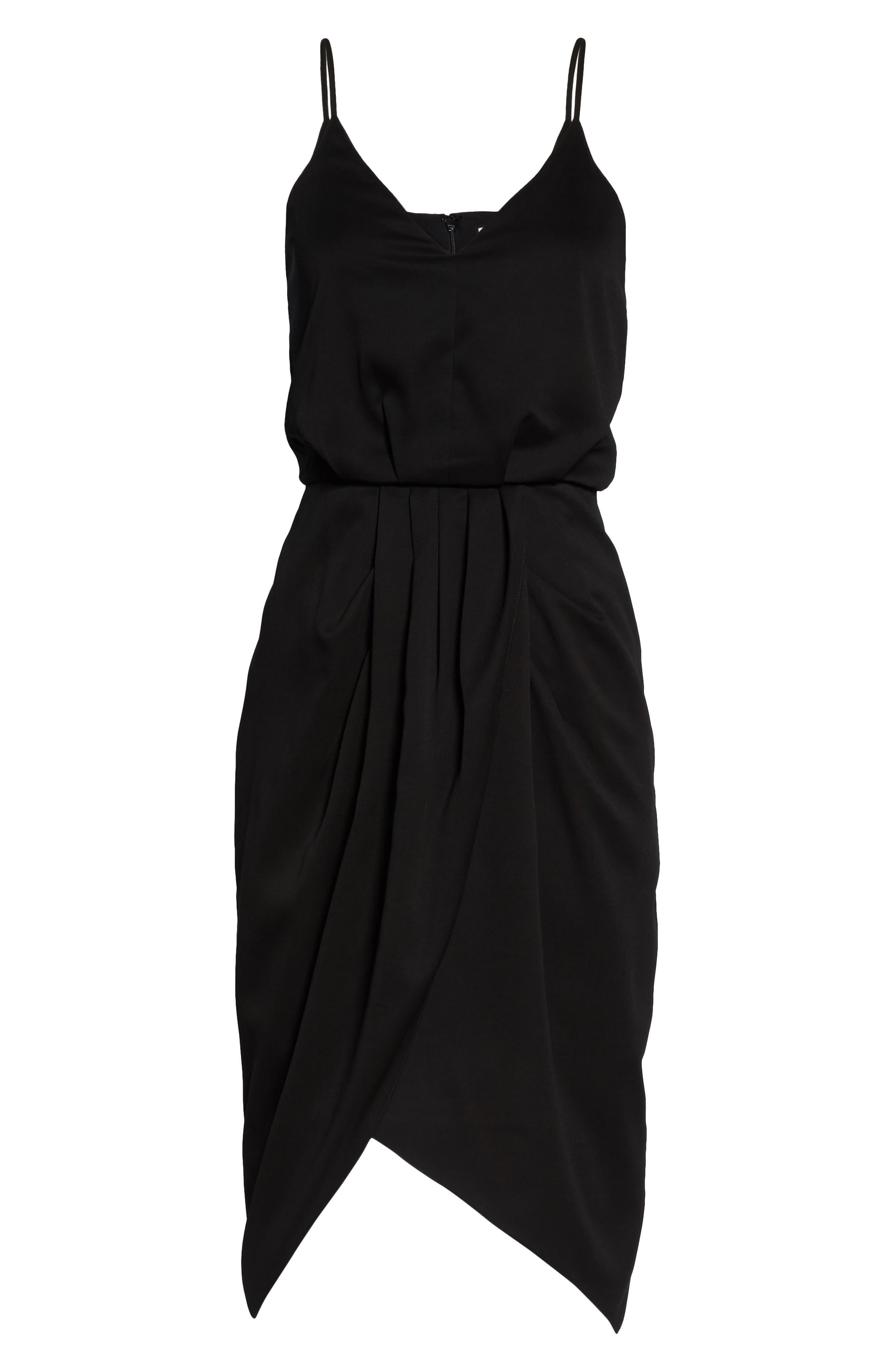 CHELSEA28, Print Faux Wrap Dress, Alternate thumbnail 7, color, BLACK