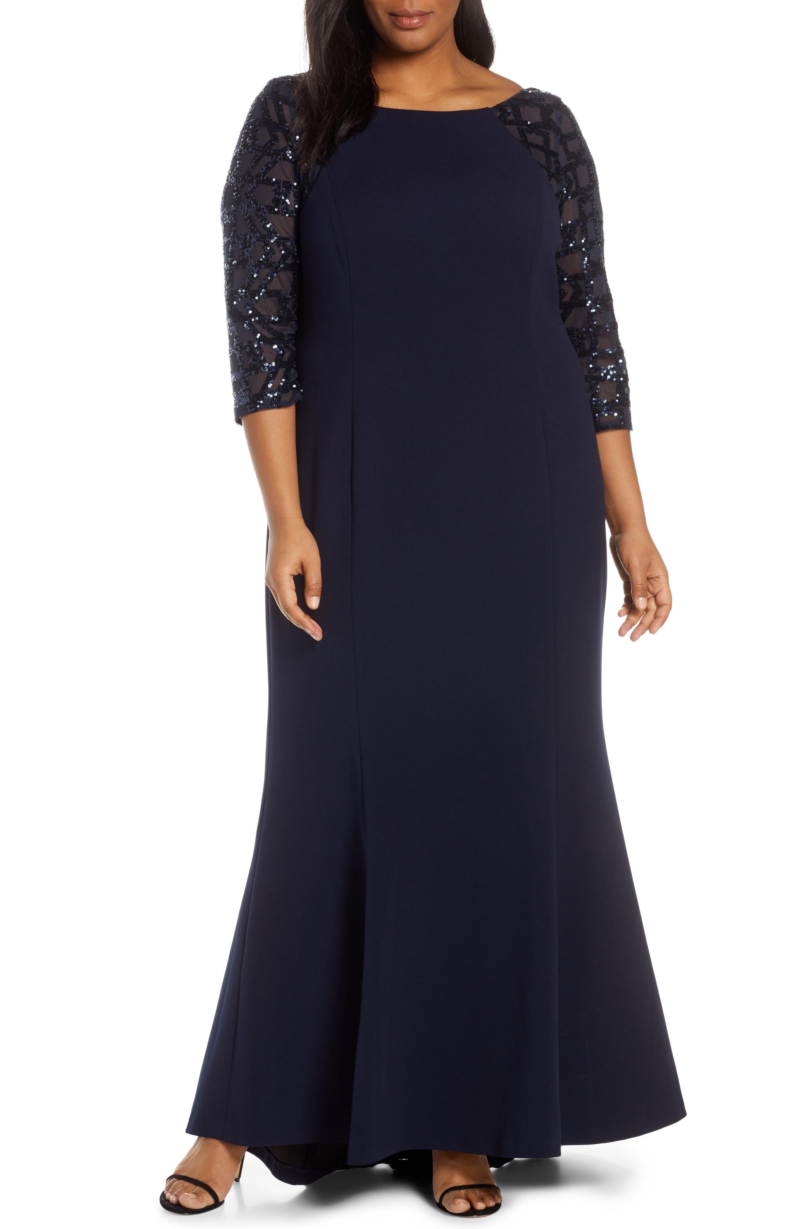 Plus Size Vince Camuto Sequin Crepe Trumpet Gown, Blue