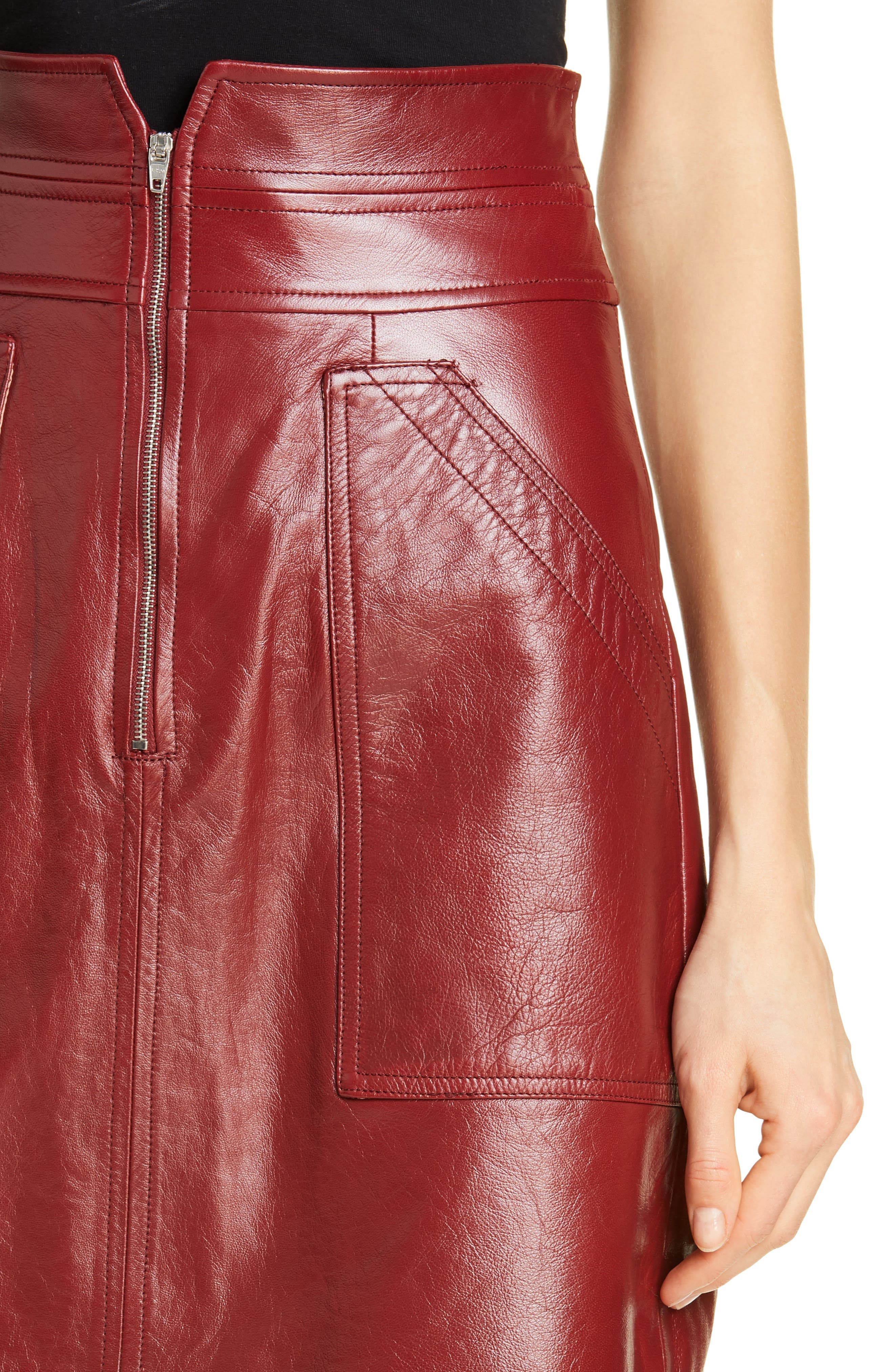 REBECCA TAYLOR, Leather Skirt, Alternate thumbnail 4, color, SPICE