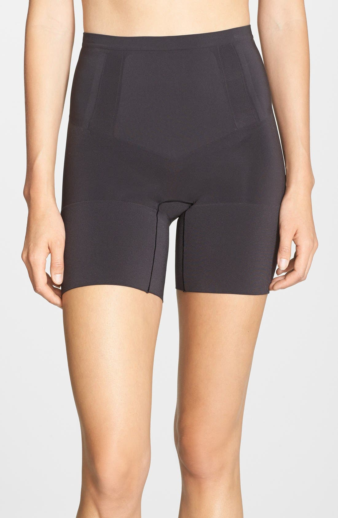SPANX<SUP>®</SUP>, OnCore Mid Thigh Shorts, Main thumbnail 1, color, BLACK