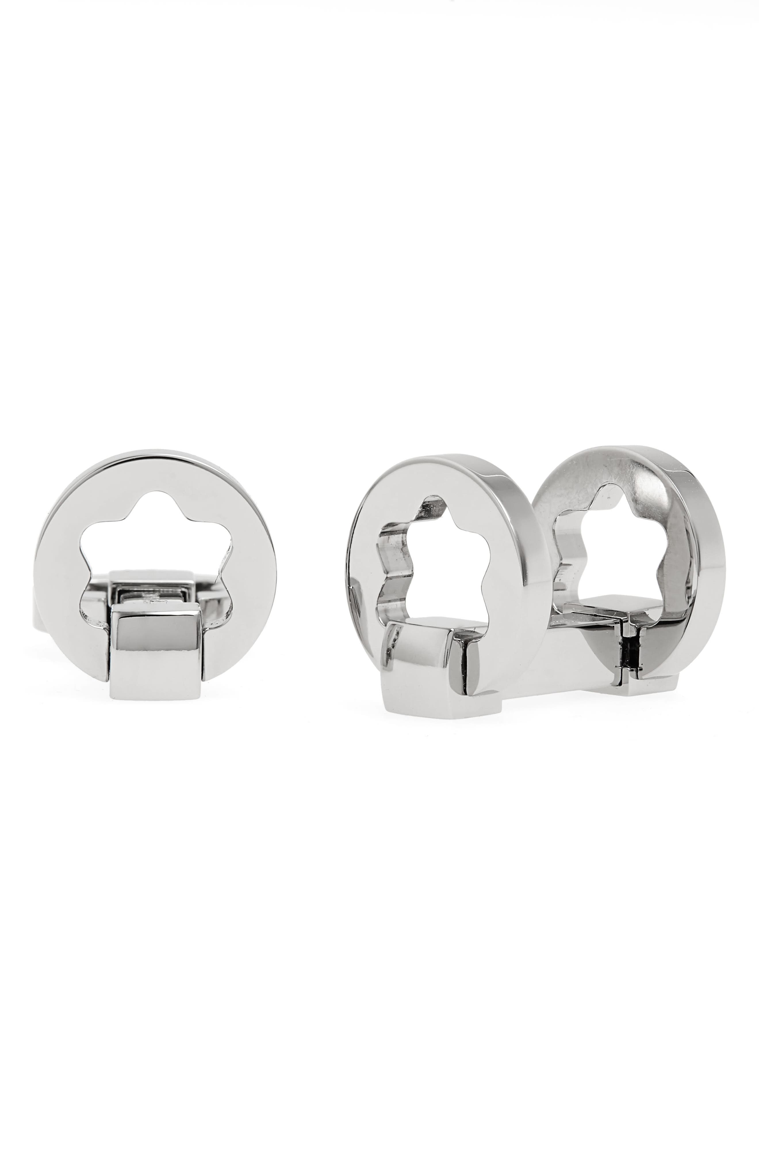 MONTBLANC, Star Cuff Links, Main thumbnail 1, color, STAINLESS STEEL