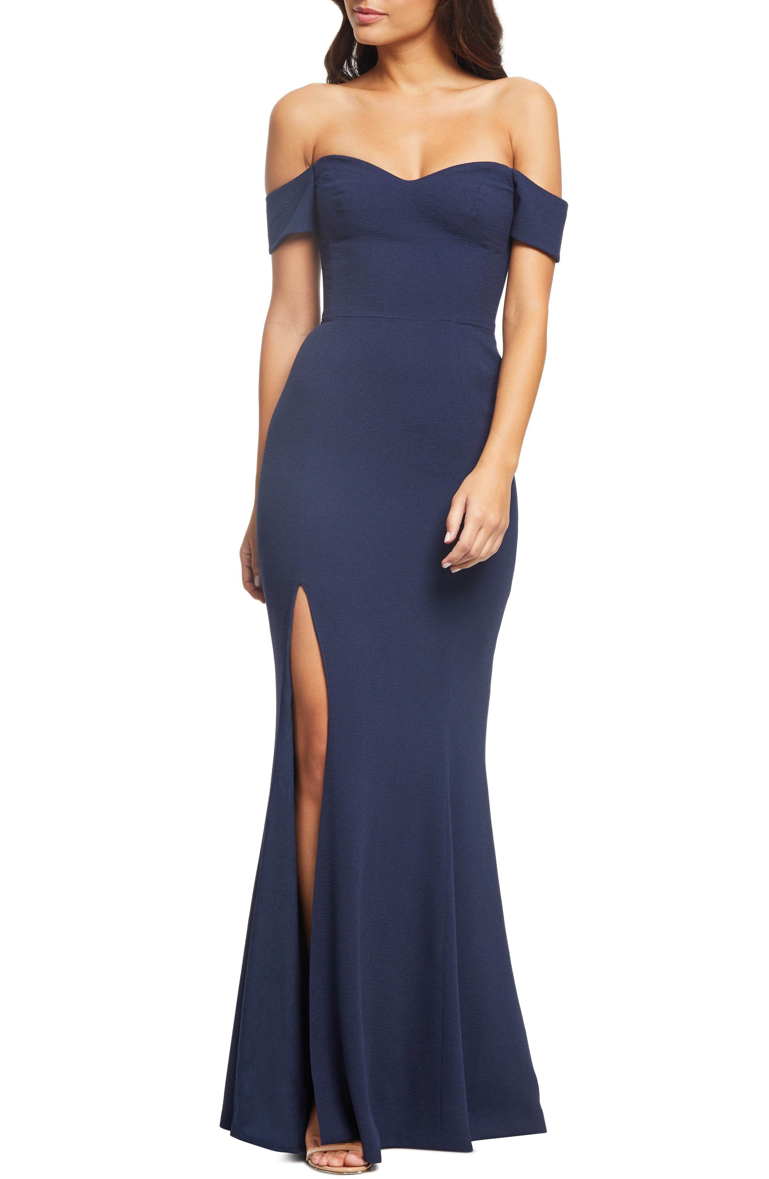 Dress The Population Logan Off The Shoulder Evening Dress, Blue