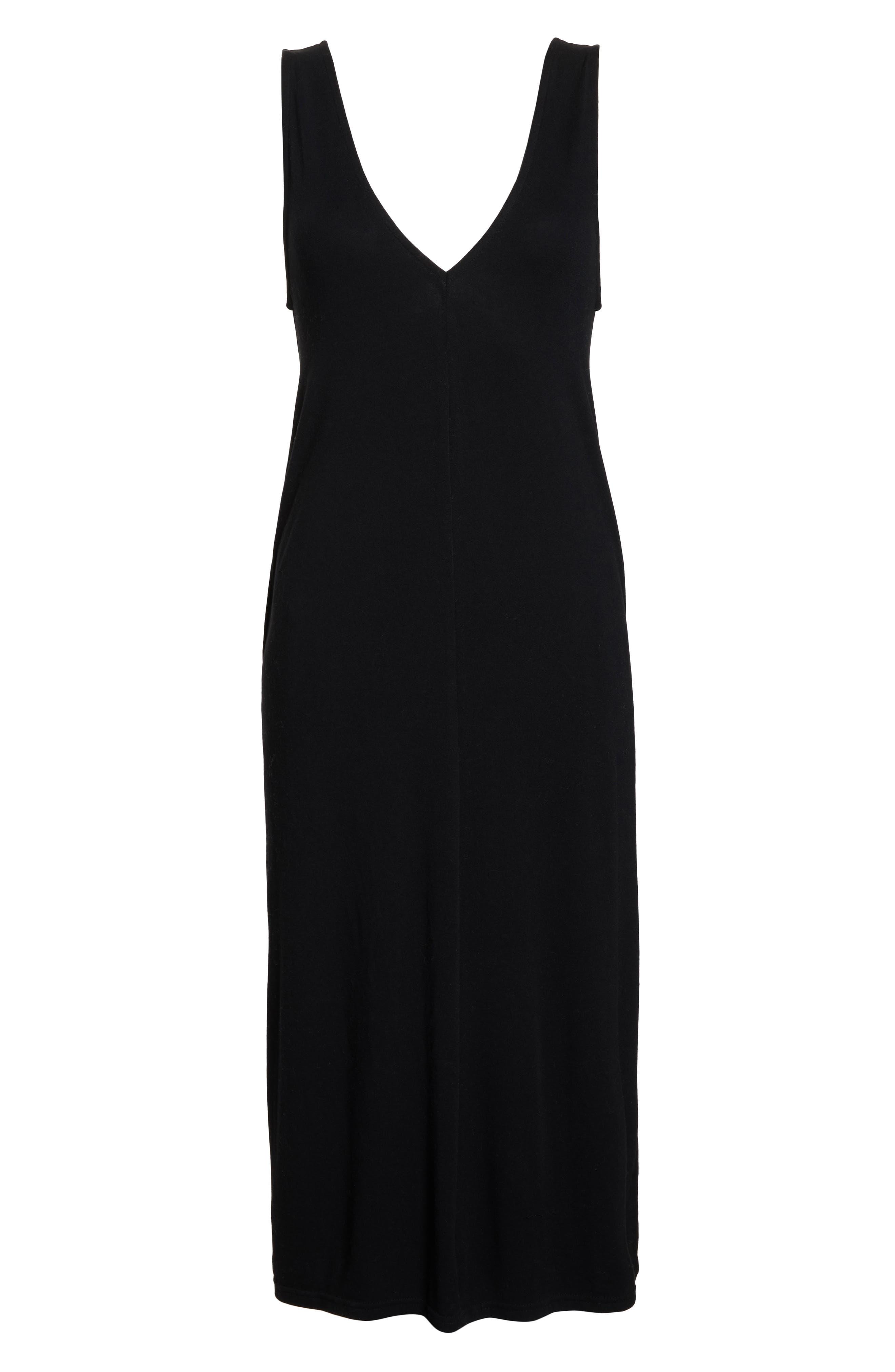 SOMETHING NAVY, Midi Nightgown, Alternate thumbnail 7, color, BLACK
