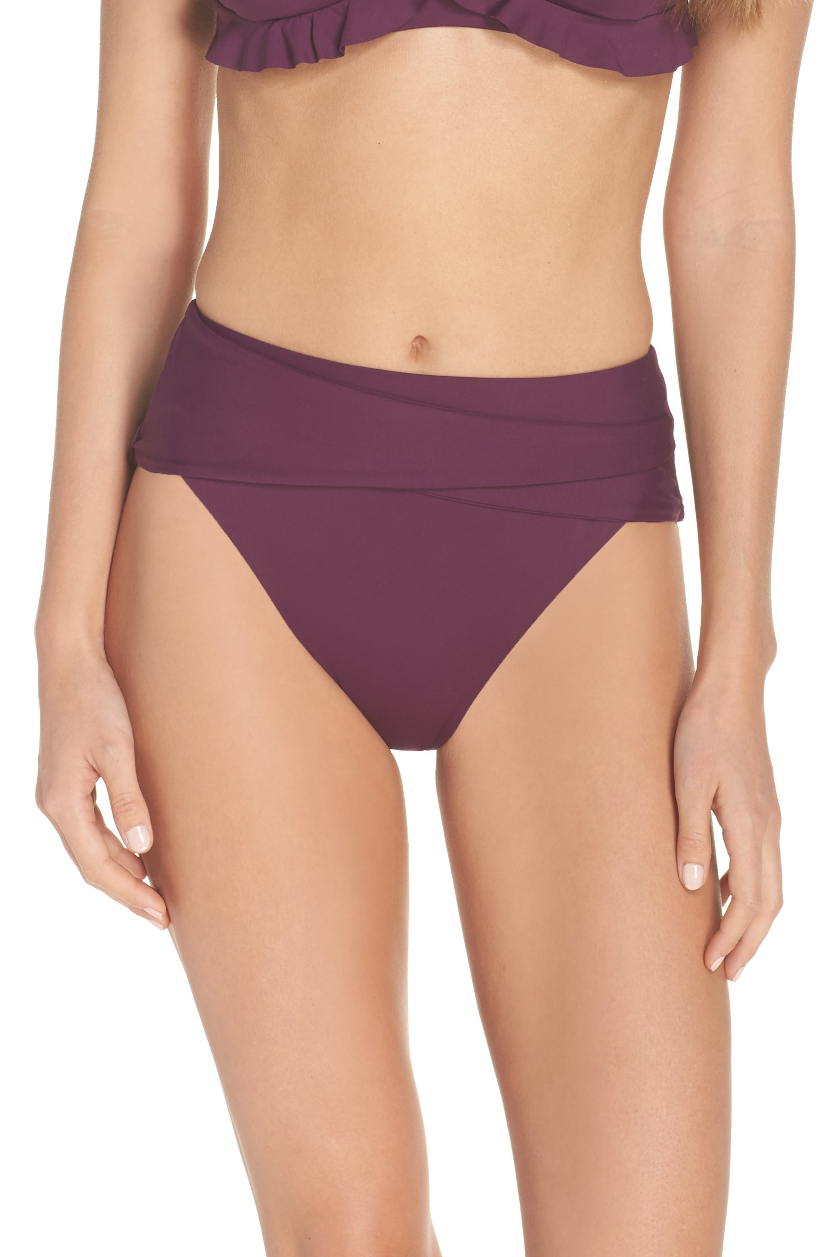 BECCA, Color Code Crossover High Waist Bikini Bottoms, Main thumbnail 1, color, MERLOT