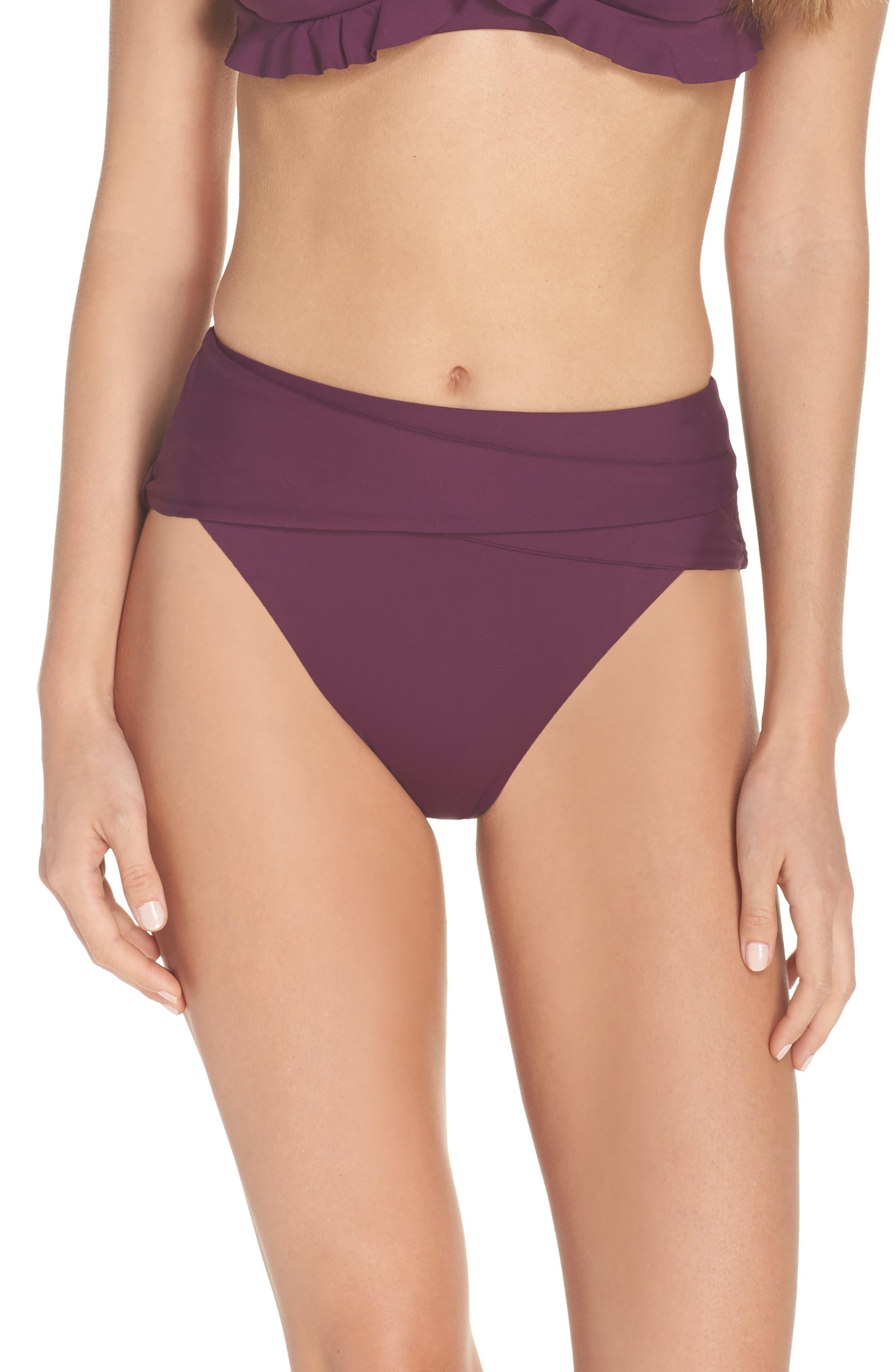 BECCA Color Code Crossover High Waist Bikini Bottoms, Main, color, MERLOT