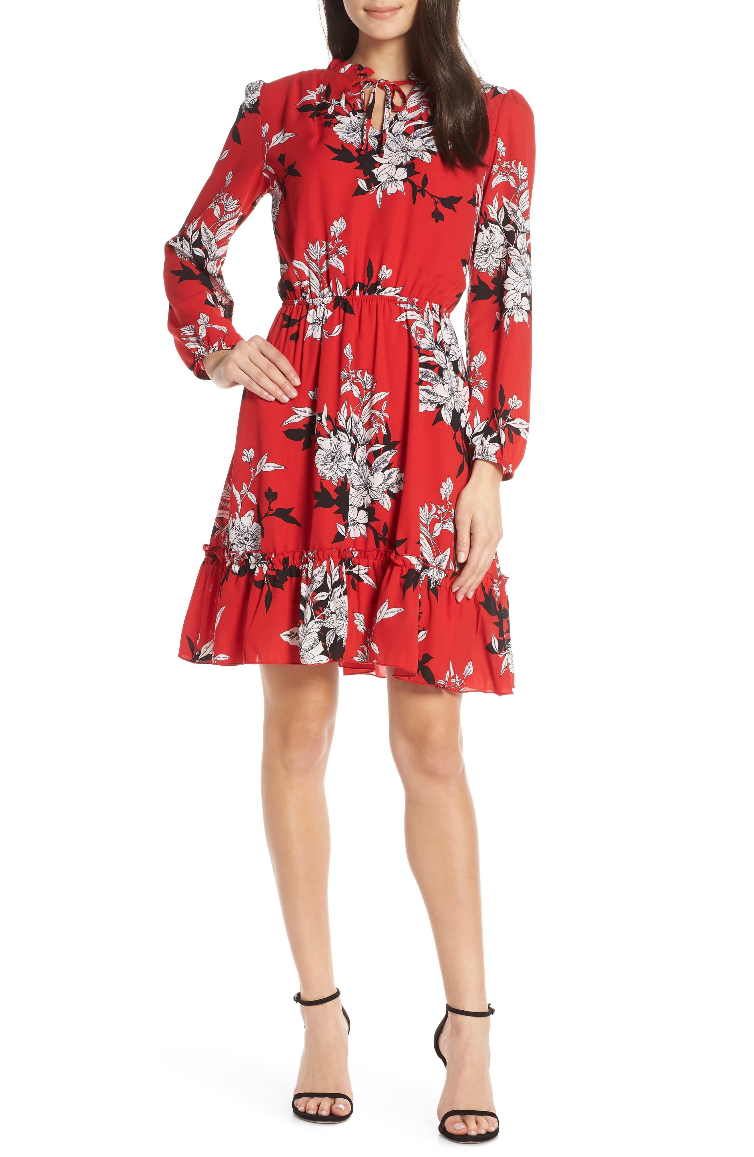 Fraiche By J Chelsy Blouson Dress, Red