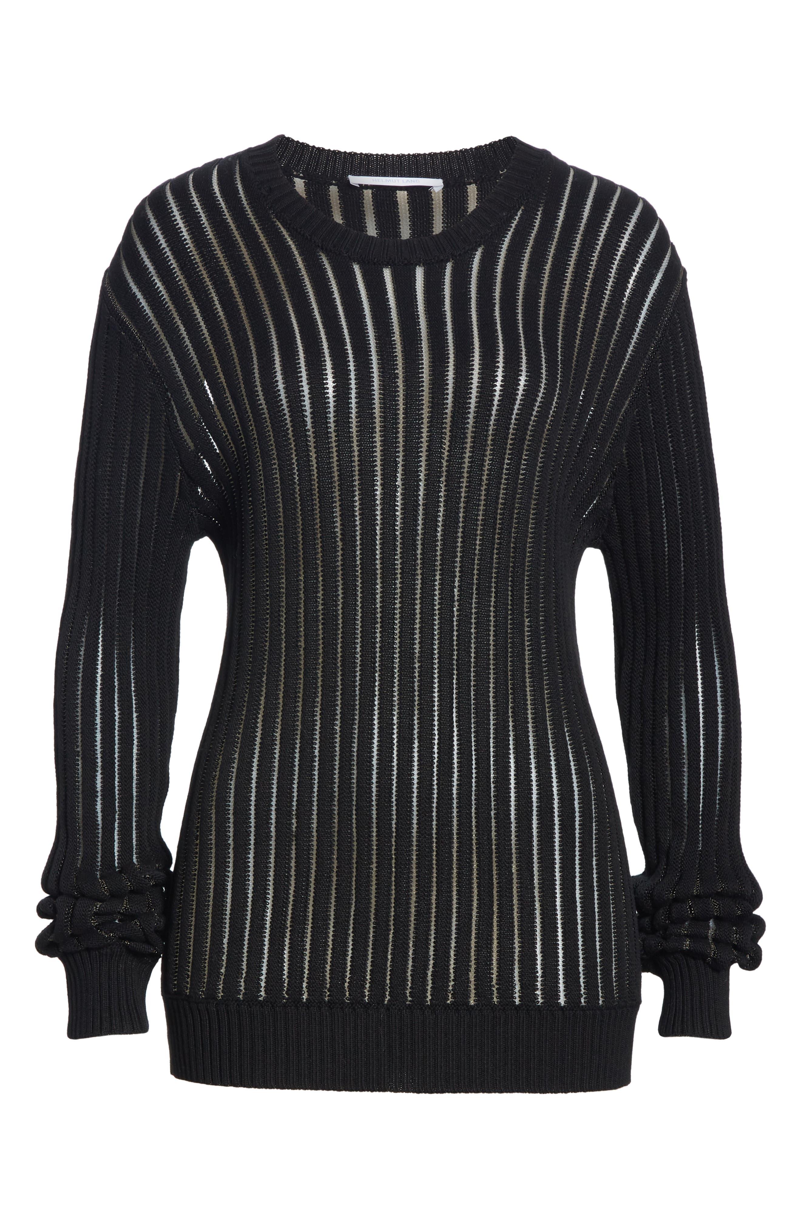 HELMUT LANG, Sheer Stripe Sweater, Alternate thumbnail 6, color, 001