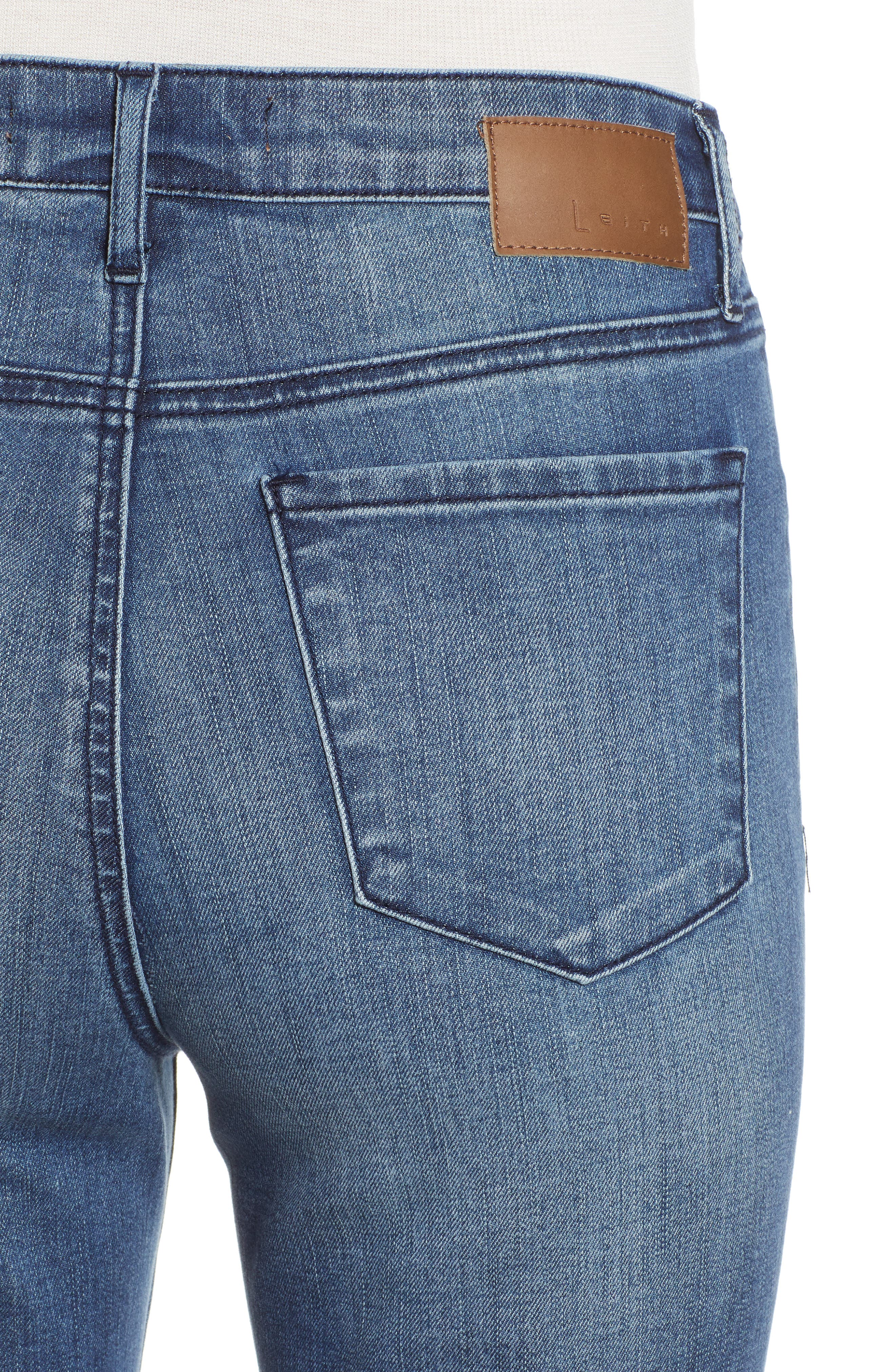 LEITH, High Waist Flare Jeans, Alternate thumbnail 5, color, MEDIUM WASH