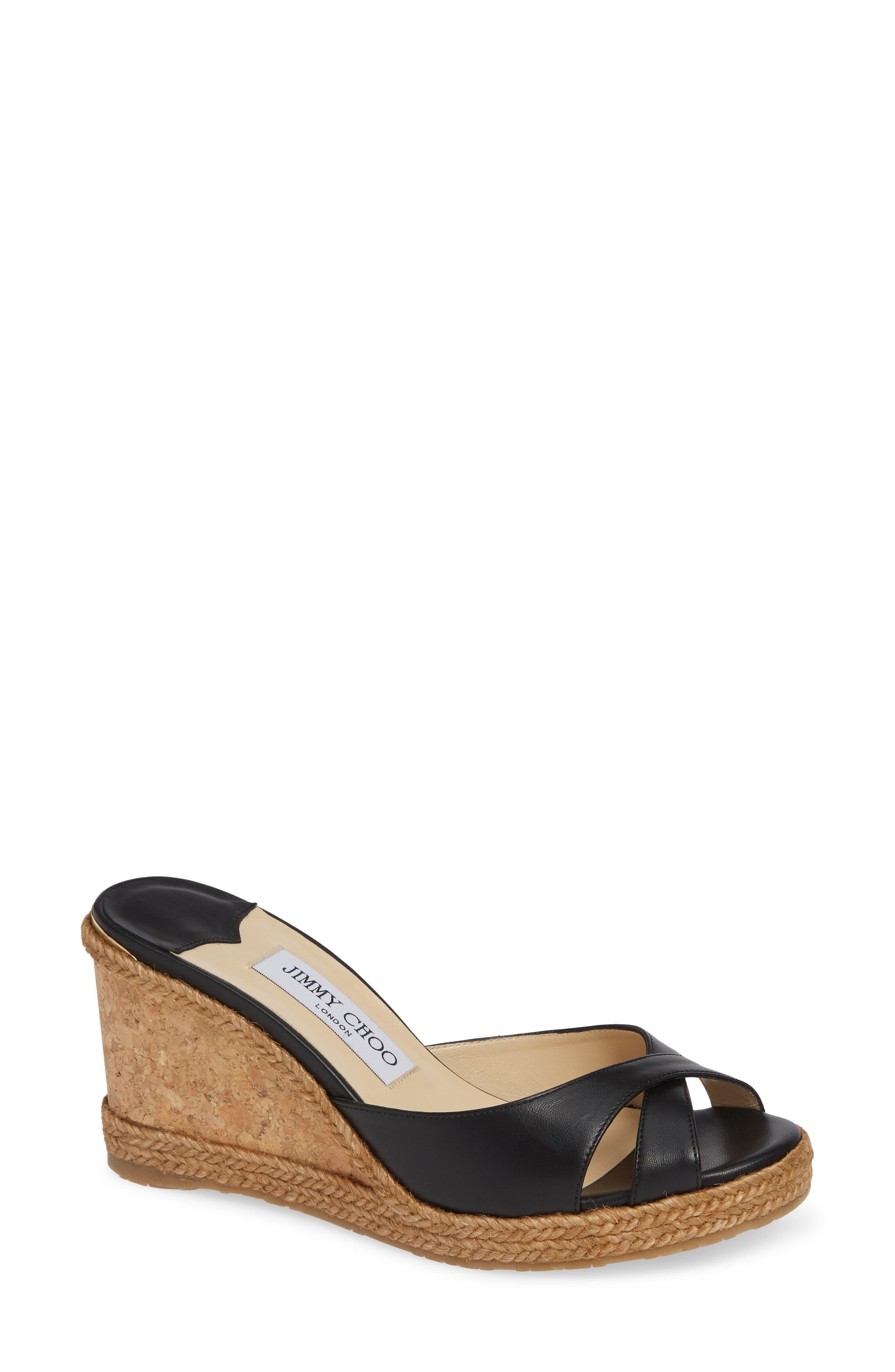 JIMMY CHOO Almer Cork Wedge Sandal, Main, color, BLACK