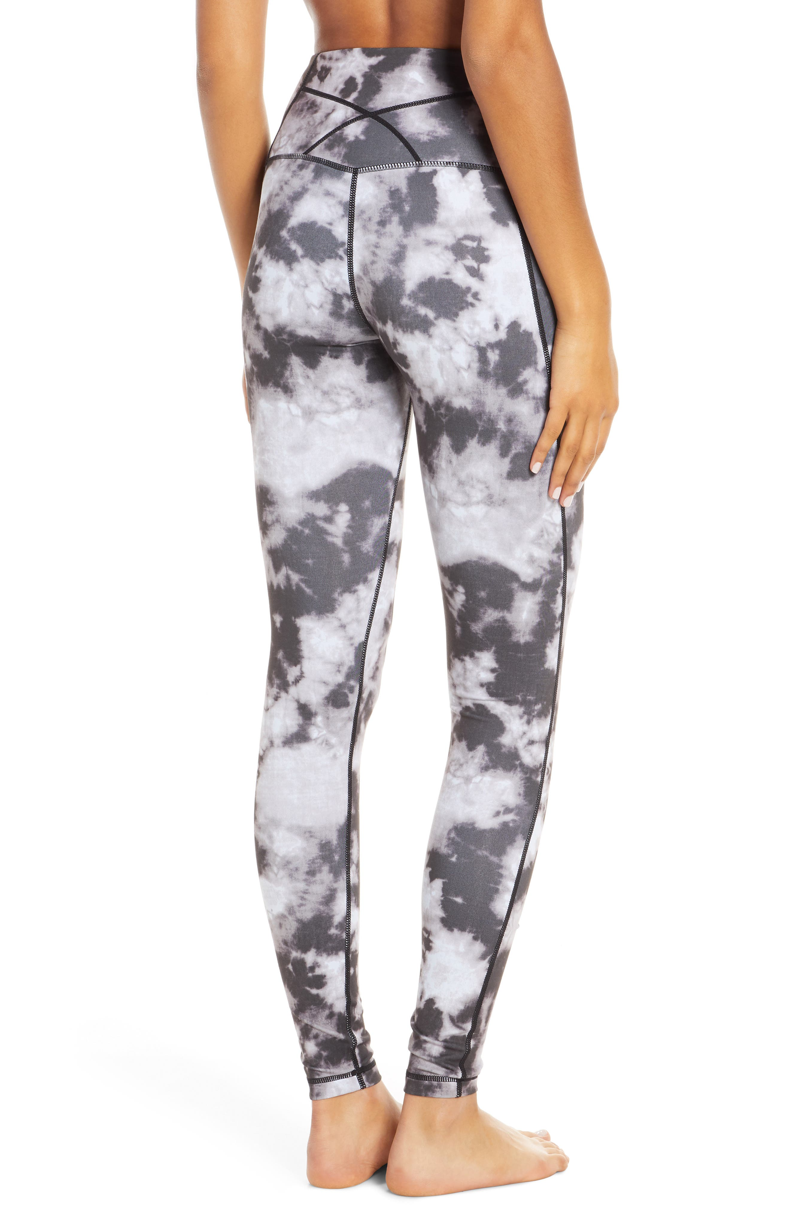 ZELLA, Live In High Waist Leggings, Alternate thumbnail 2, color, BLACK SUN BLEACH PRINT