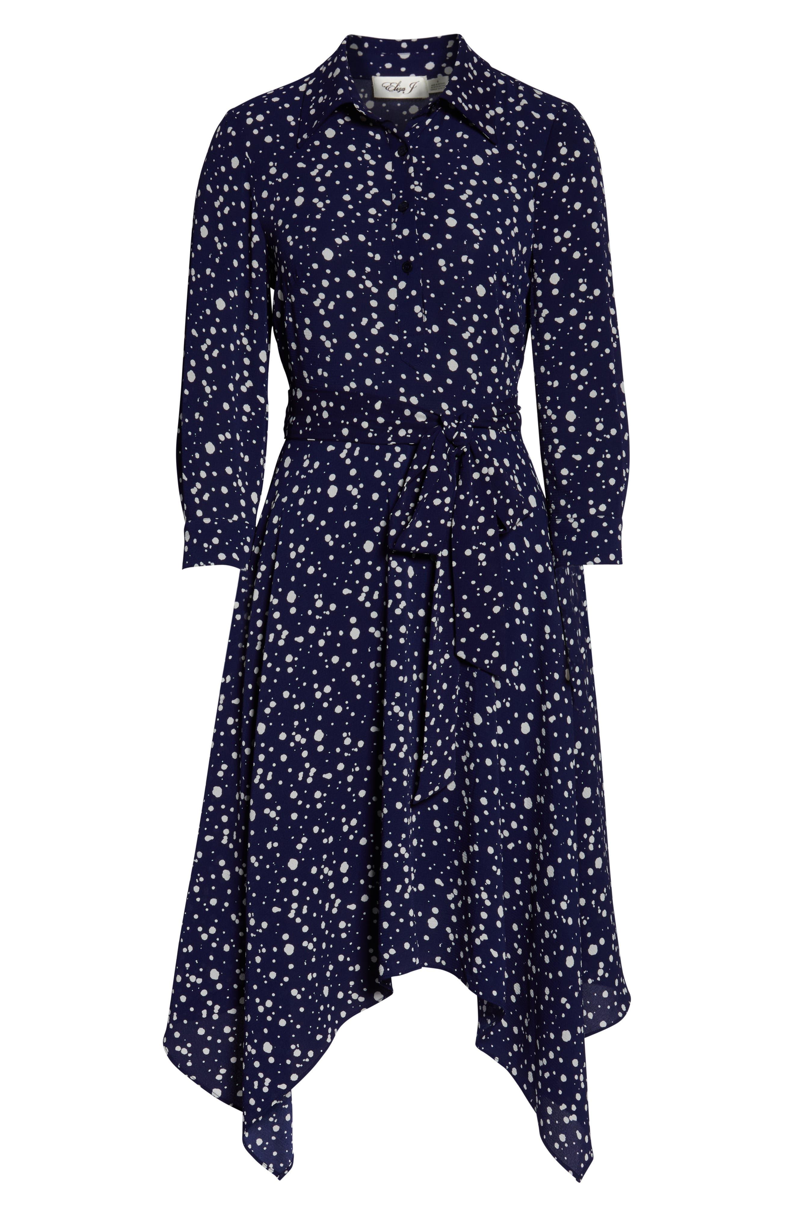 ELIZA J, Handkerchief Hem Midi Dress, Alternate thumbnail 7, color, 410