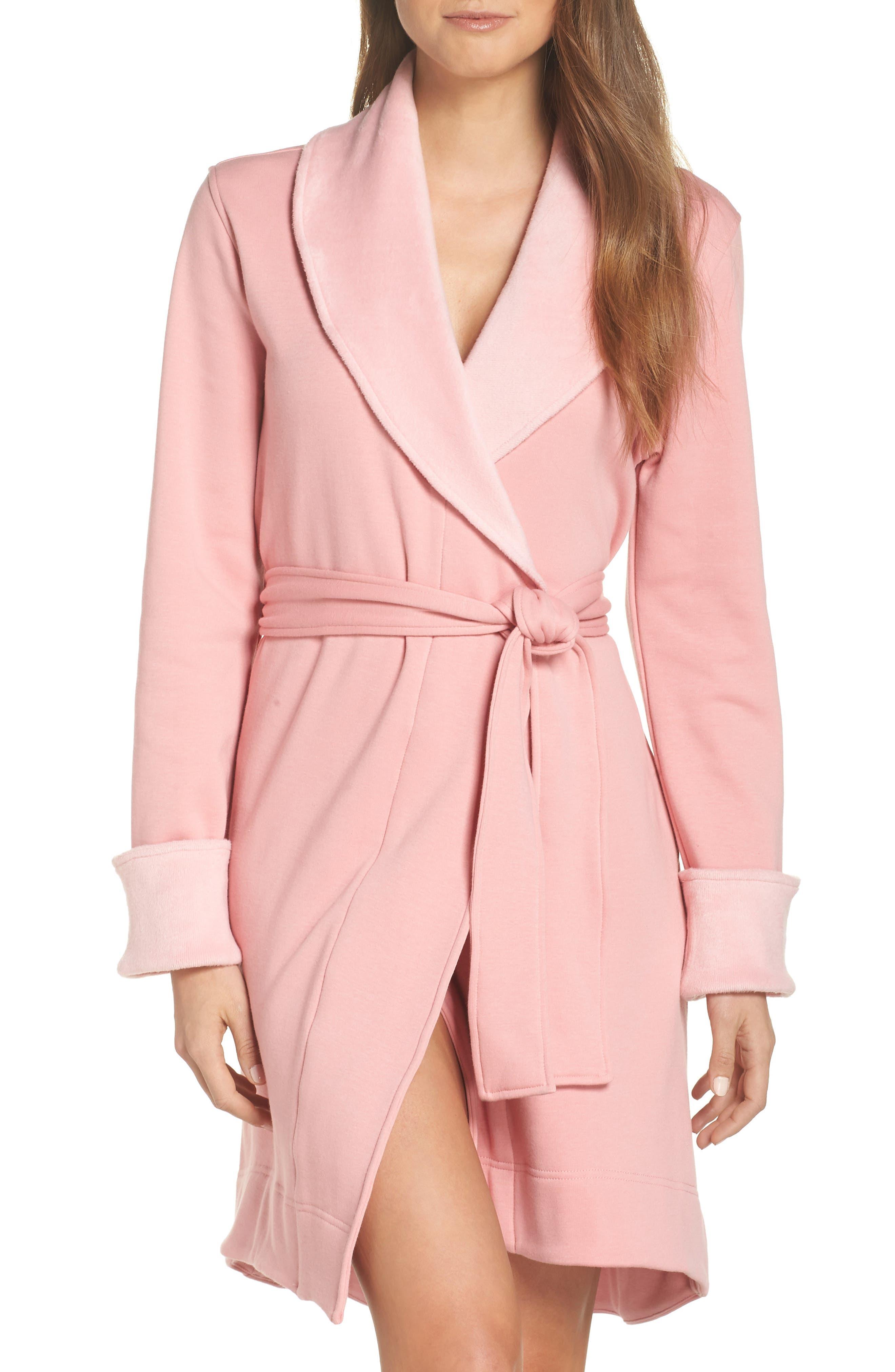 UGG<SUP>®</SUP>, Blanche II Short Robe, Main thumbnail 1, color, PINK DAWN