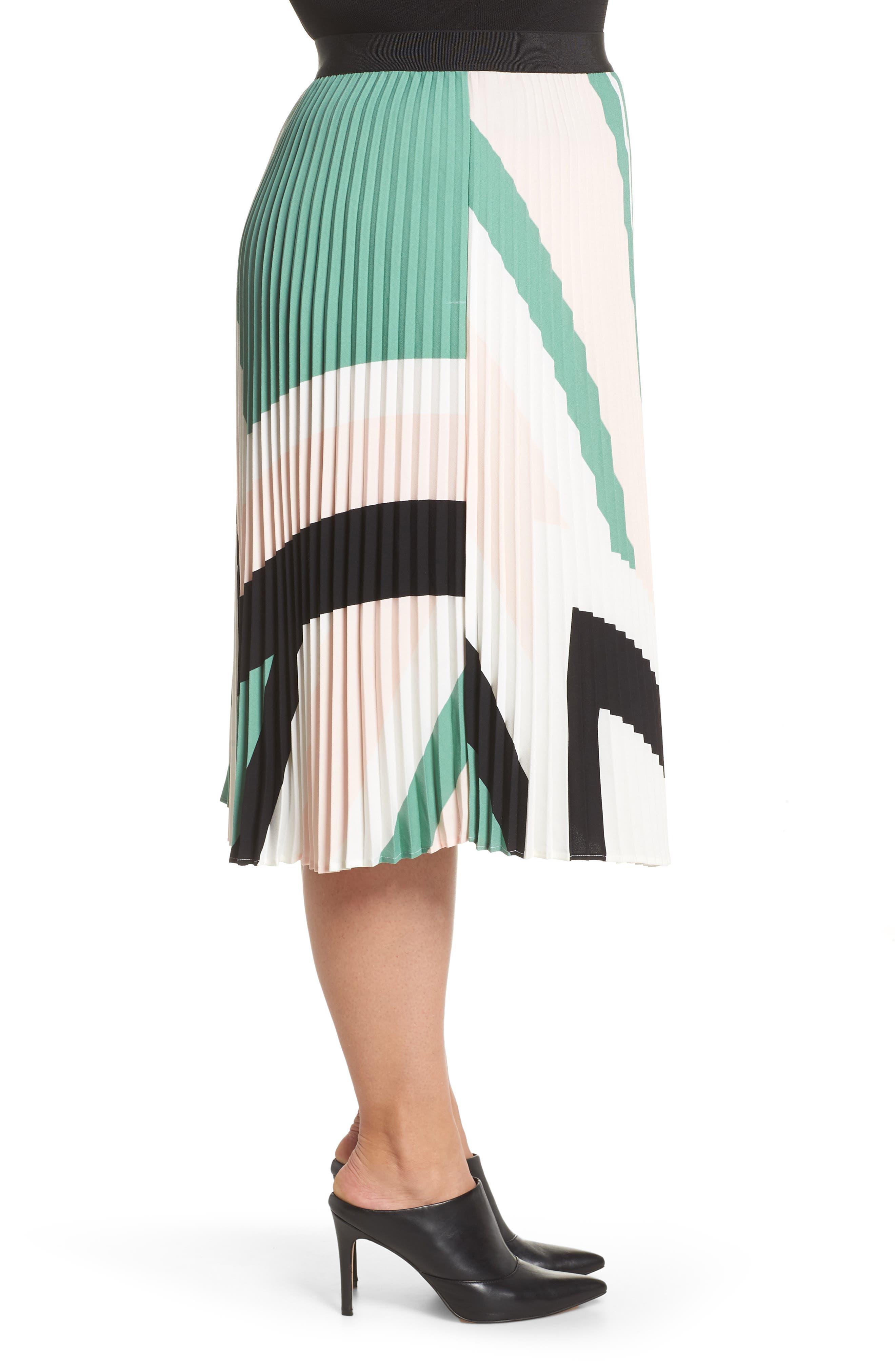 LEITH, Pleated Midi Skirt, Alternate thumbnail 9, color, PINK CHINTZ TRIANGLE STRIPE