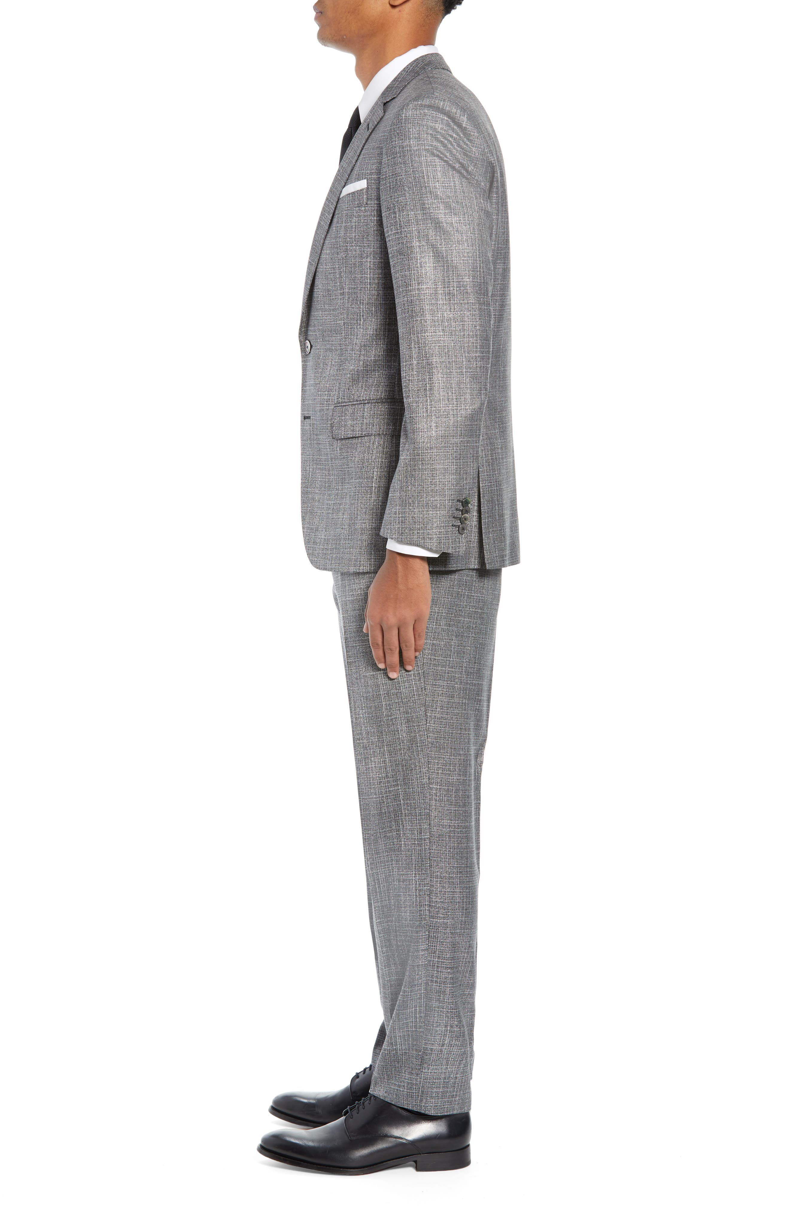 BOSS, Hutson/Gander Slim Fit Solid Wool Blend Suit, Alternate thumbnail 3, color, MEDIUM GREY