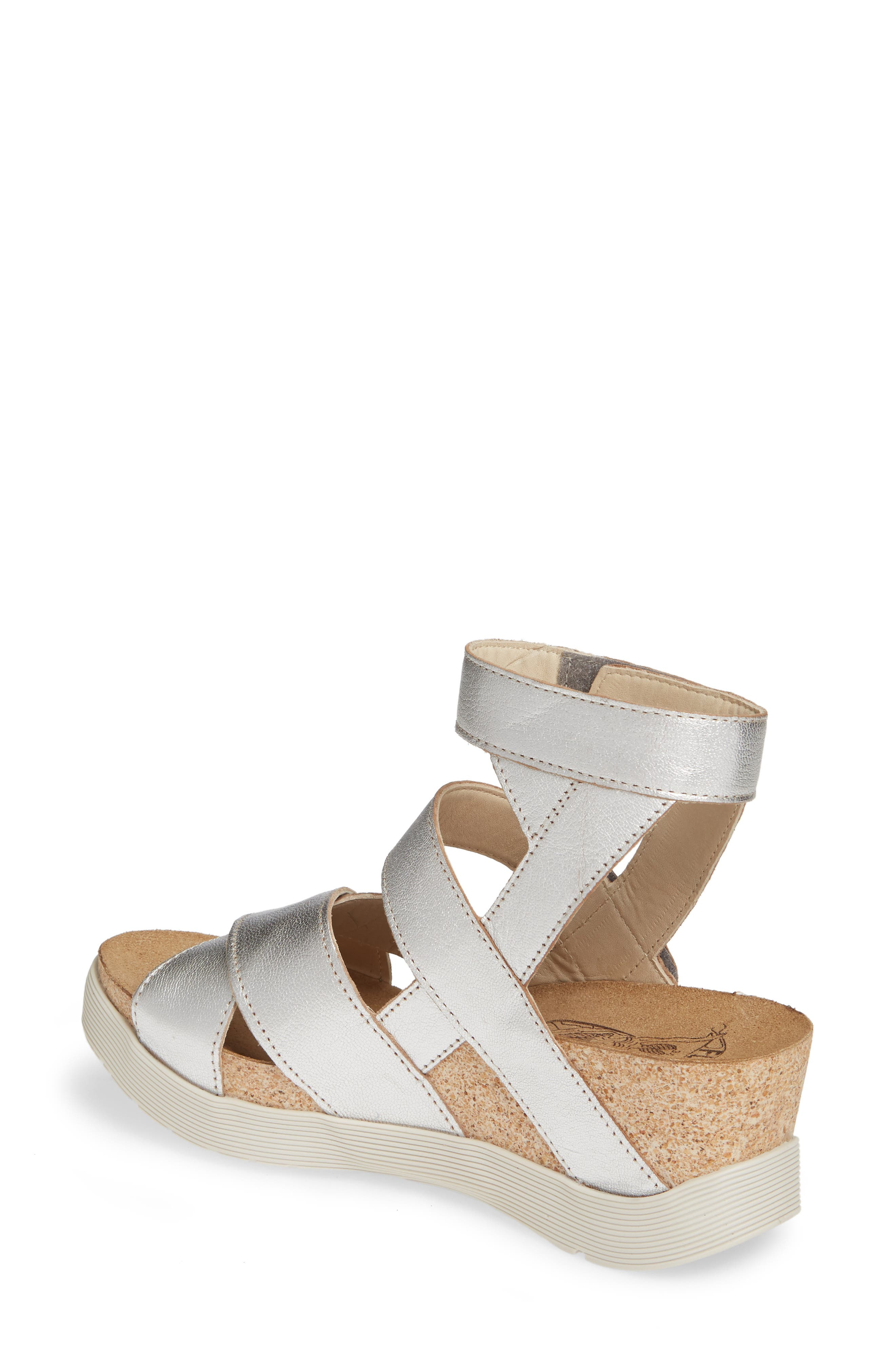 FLY LONDON, 'Wege' Leather Sandal, Alternate thumbnail 2, color, SILVER LEATHER