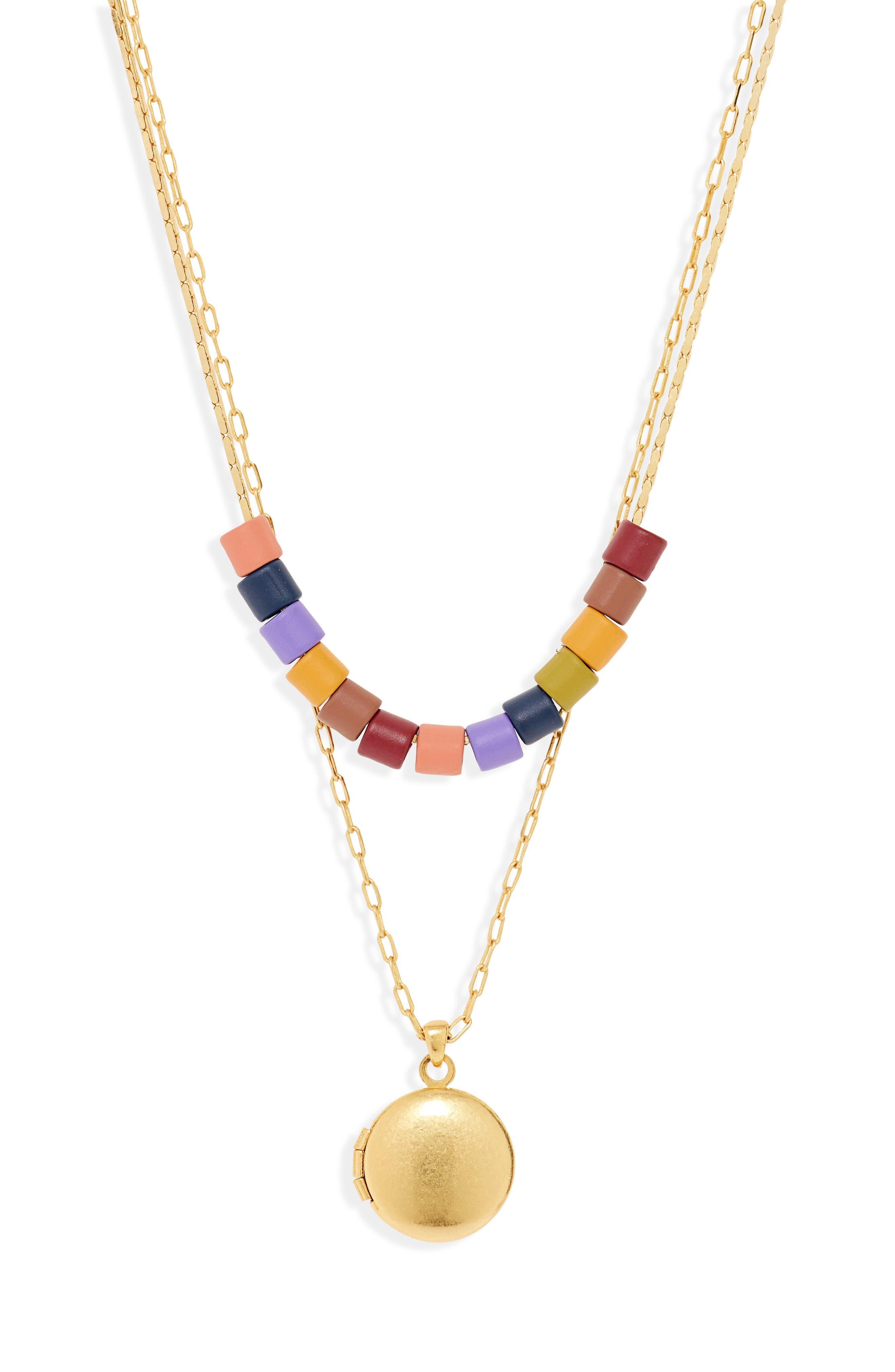 MADEWELL Set of 2 Rainbow Beaded Locket Necklaces, Main, color, RAINBOW MULTI