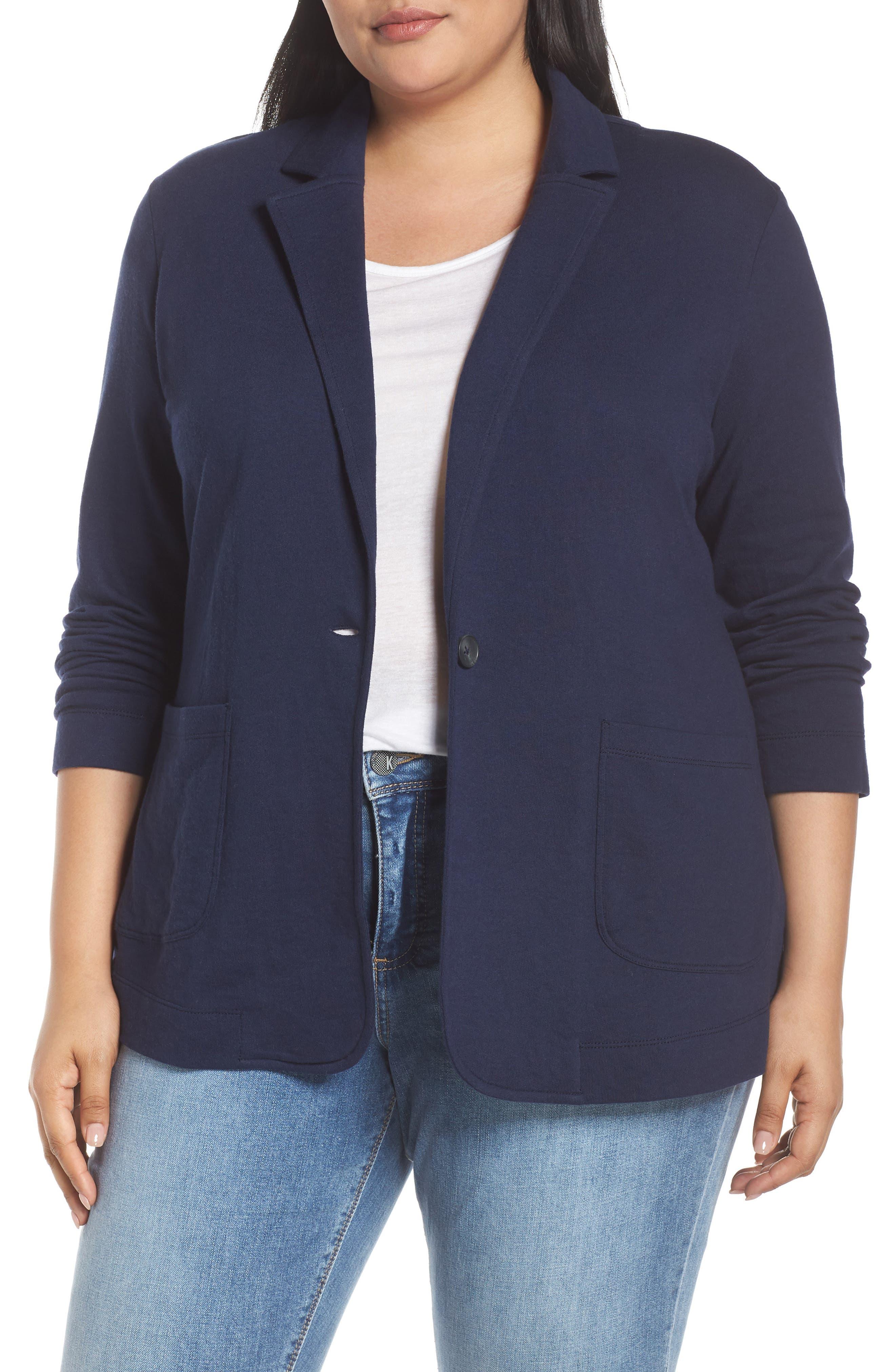 CASLON<SUP>®</SUP>, Double Pocket Knit Blazer, Main thumbnail 1, color, NAVY PEACOAT