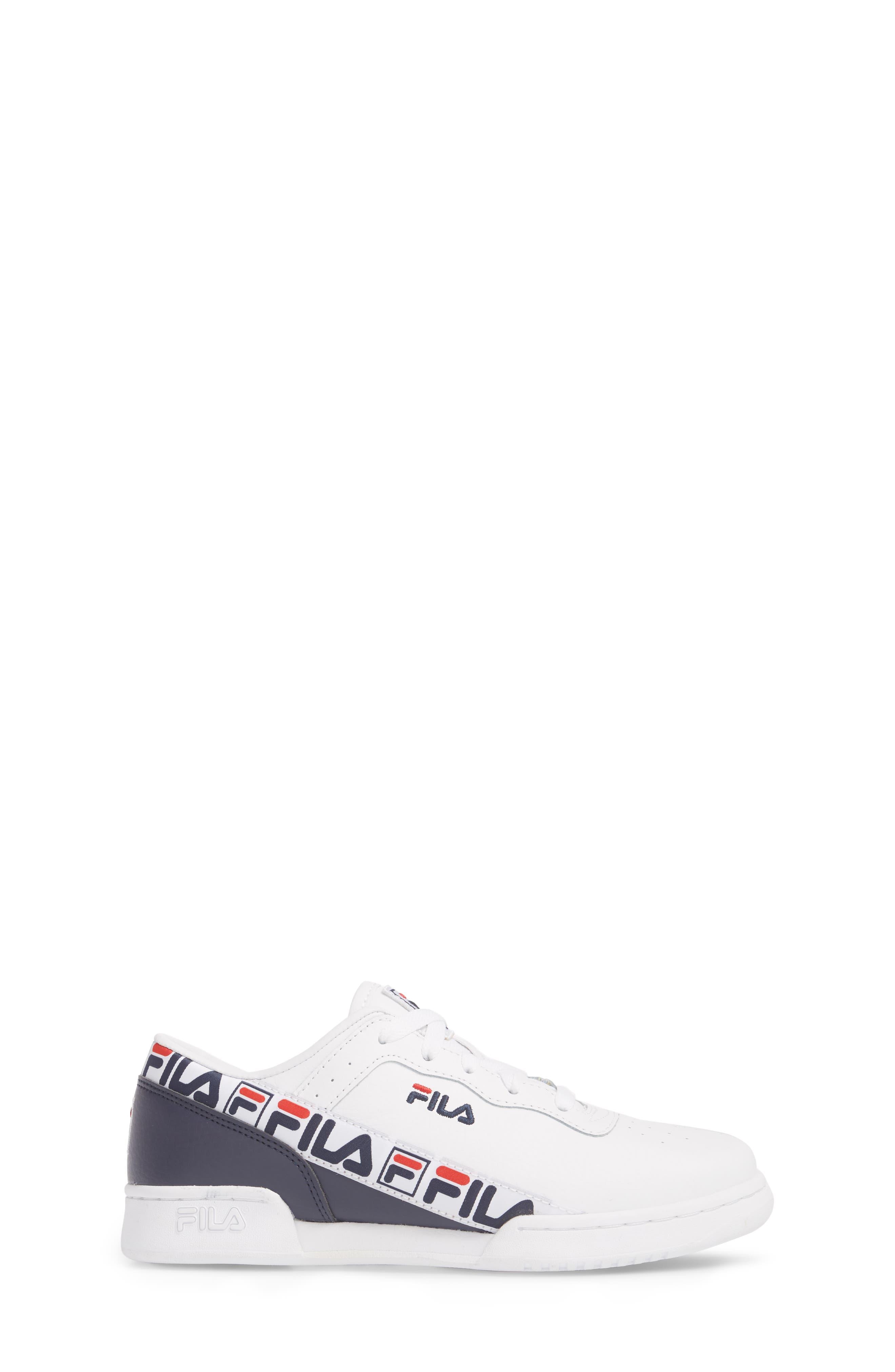 FILA, Original Fitness Logo Tape Sneaker, Alternate thumbnail 3, color, WHITE/ FILA NAVY