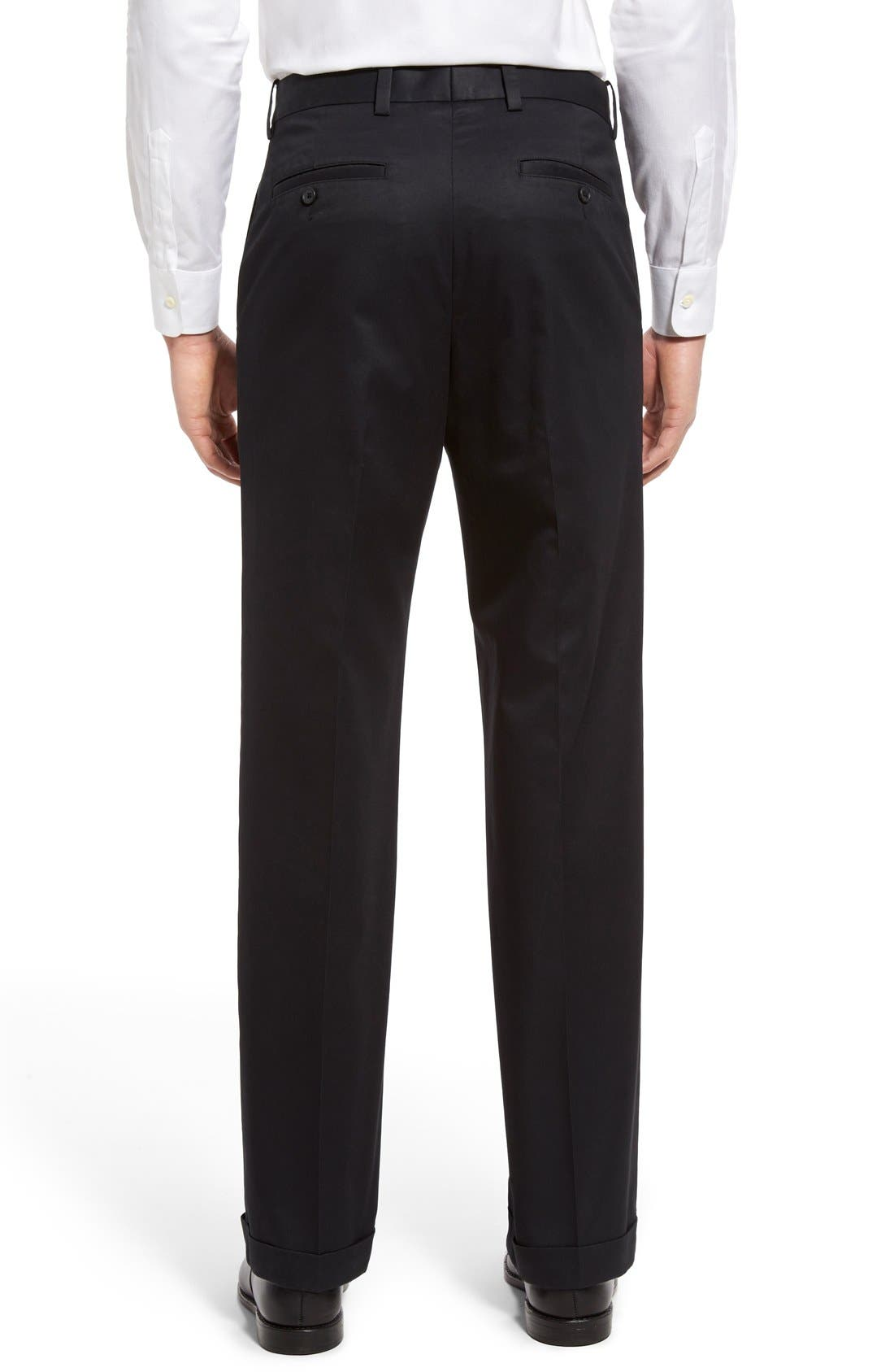 NORDSTROM MEN'S SHOP, Classic Smartcare<sup>™</sup> Supima<sup>®</sup> Cotton Pleated Trousers, Alternate thumbnail 2, color, BLACK CAVIAR