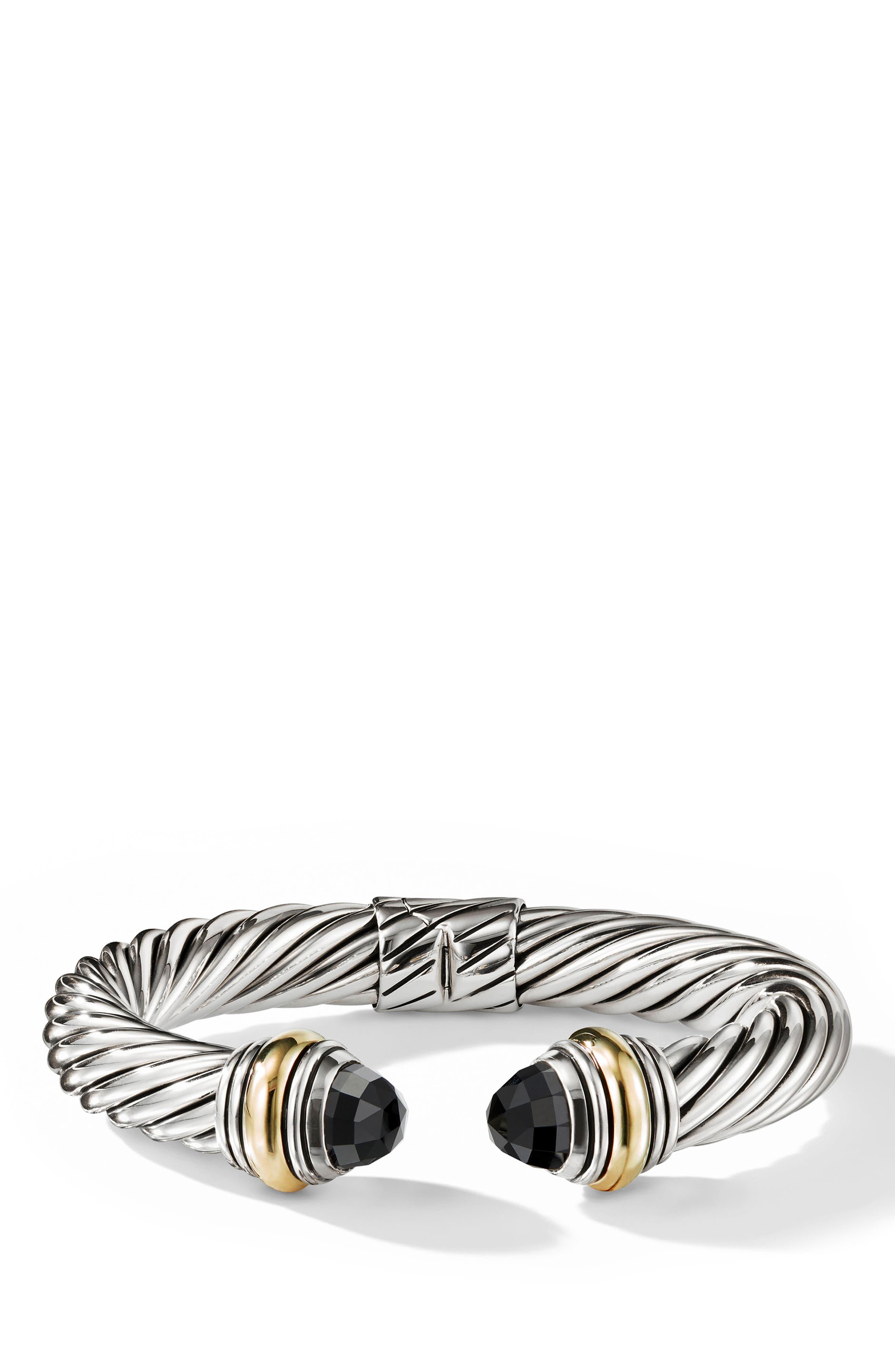 DAVID YURMAN, Cable Classics Bracelet, Main thumbnail 1, color, GOLD/ SILVER/ BLACK ONYX