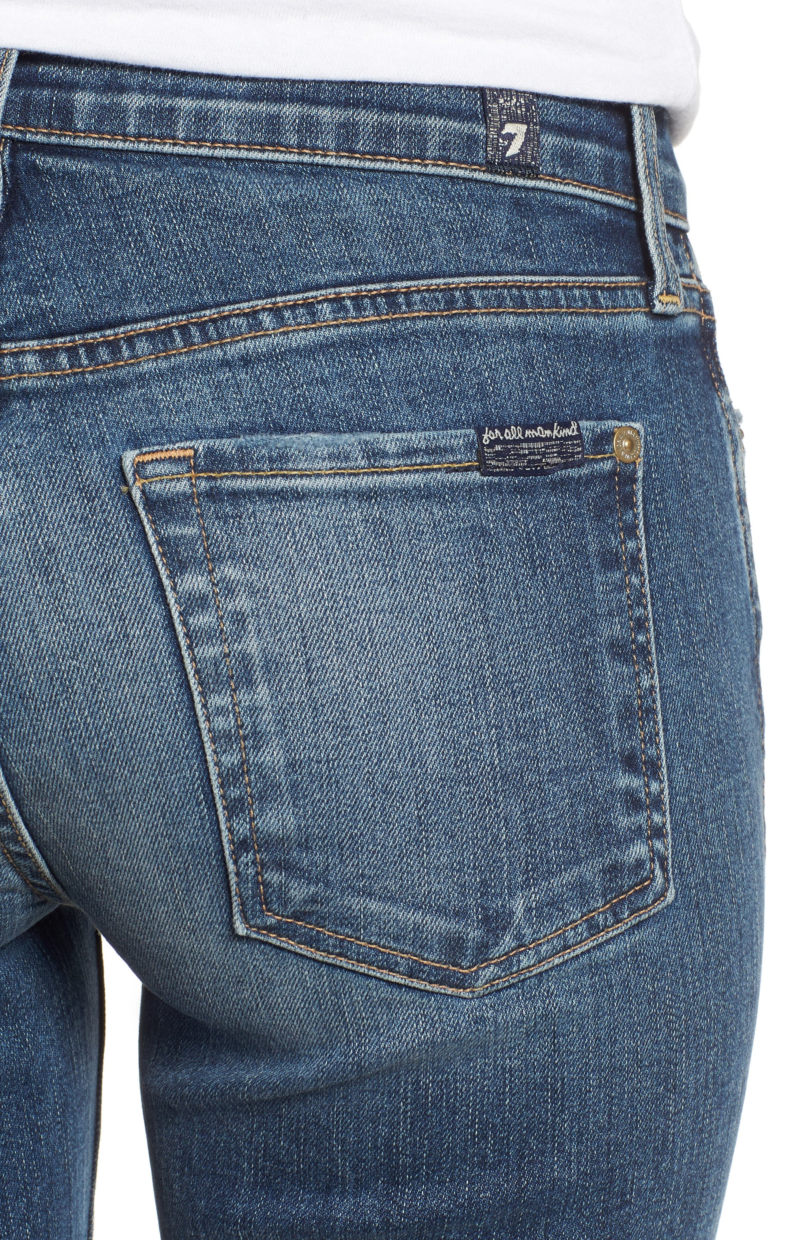 7 FOR ALL MANKIND<SUP>®</SUP>, High Waist Fray Crop Bootcut Jeans, Alternate thumbnail 5, color, 400