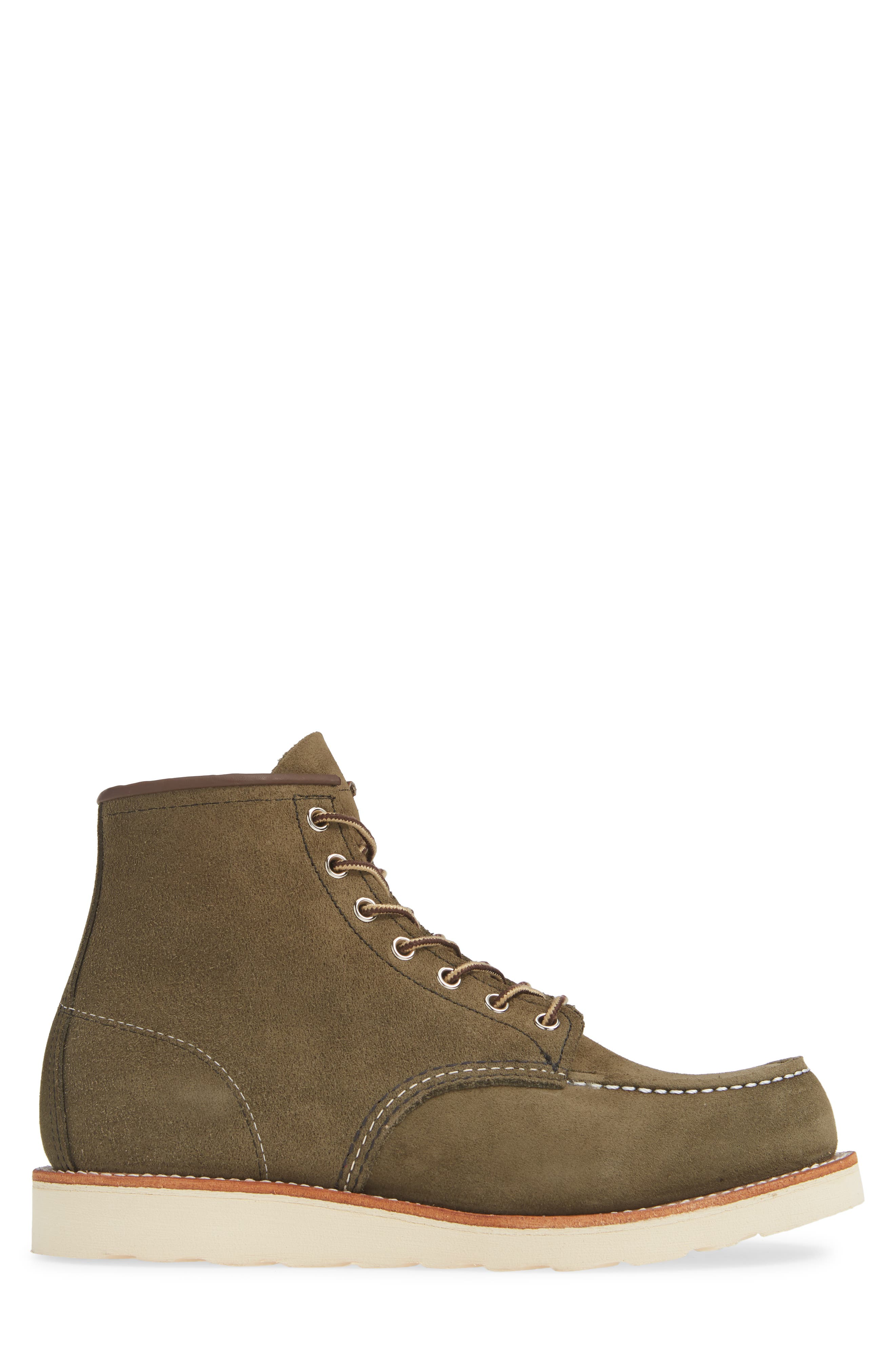 RED WING, 6 Inch Moc Toe Boot, Alternate thumbnail 3, color, LODEN ABILENE LEATHER