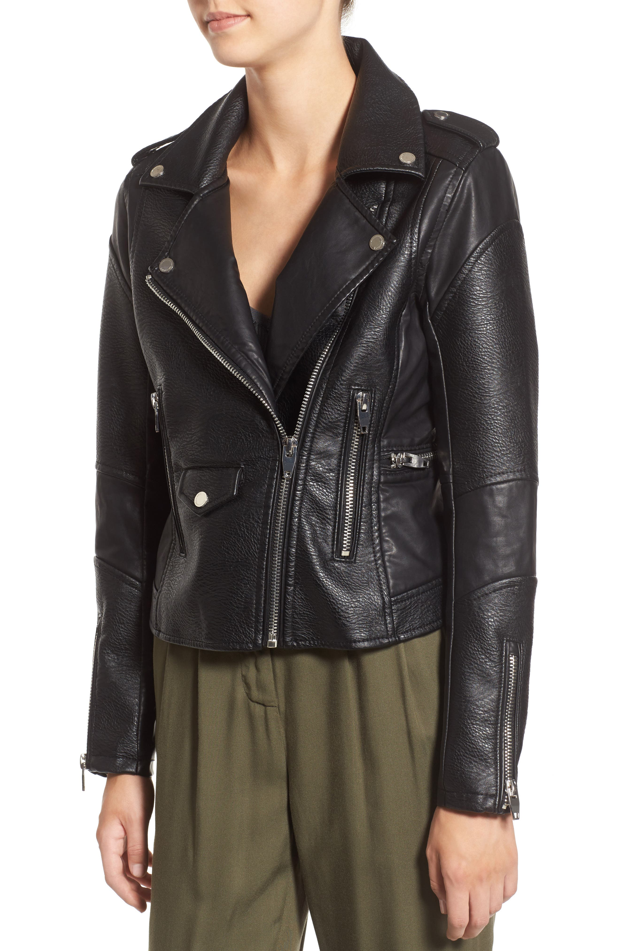 BLANKNYC, 'Easy Rider' Faux Leather Moto Jacket, Alternate thumbnail 4, color, 001