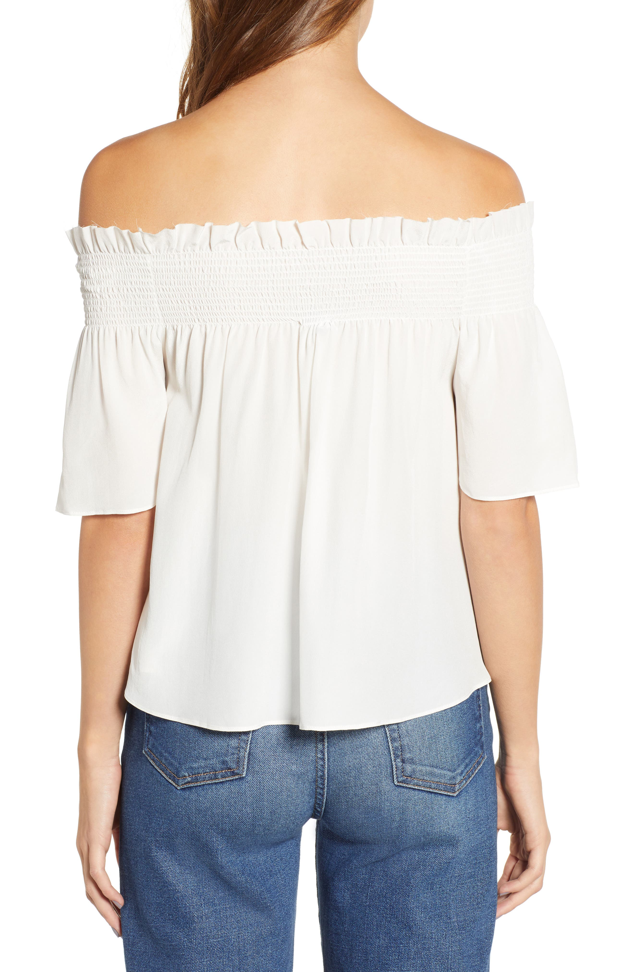 7 FOR ALL MANKIND<SUP>®</SUP>, Off the Shoulder Smocked Silk Top, Alternate thumbnail 2, color, NATURAL WHITE