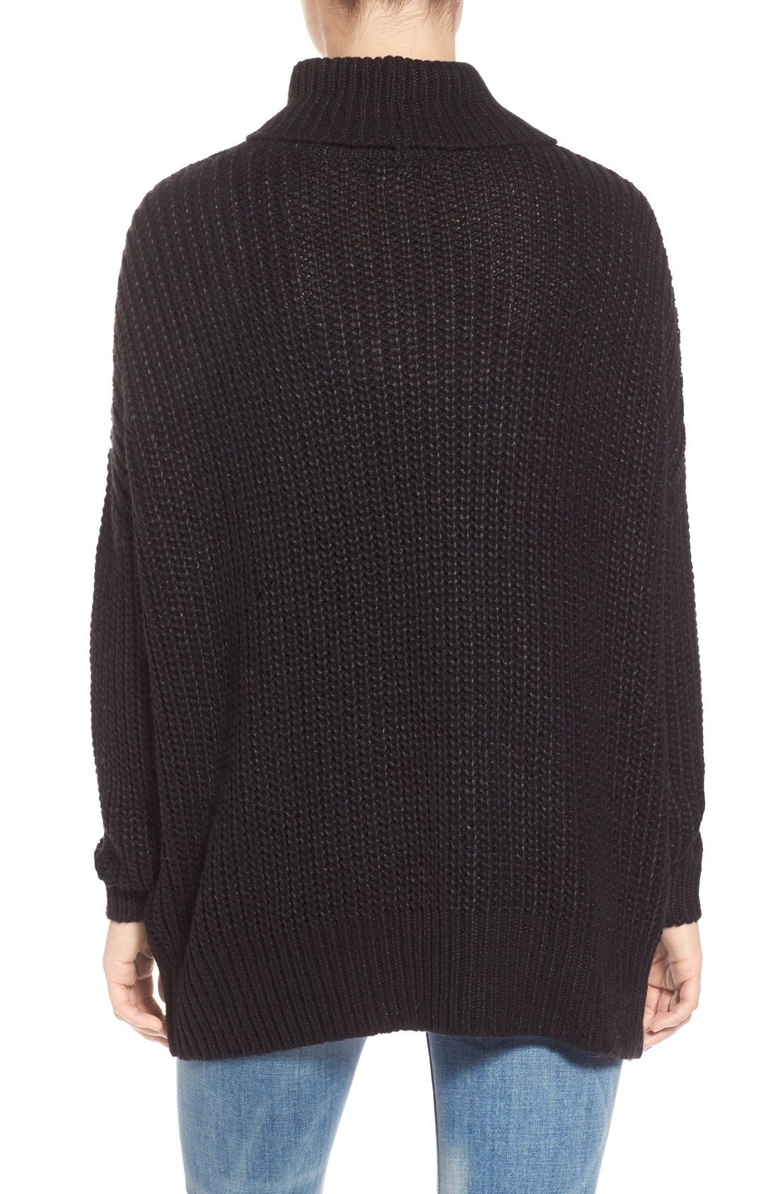 LEITH, Oversize Turtleneck Sweater, Alternate thumbnail 5, color, 001