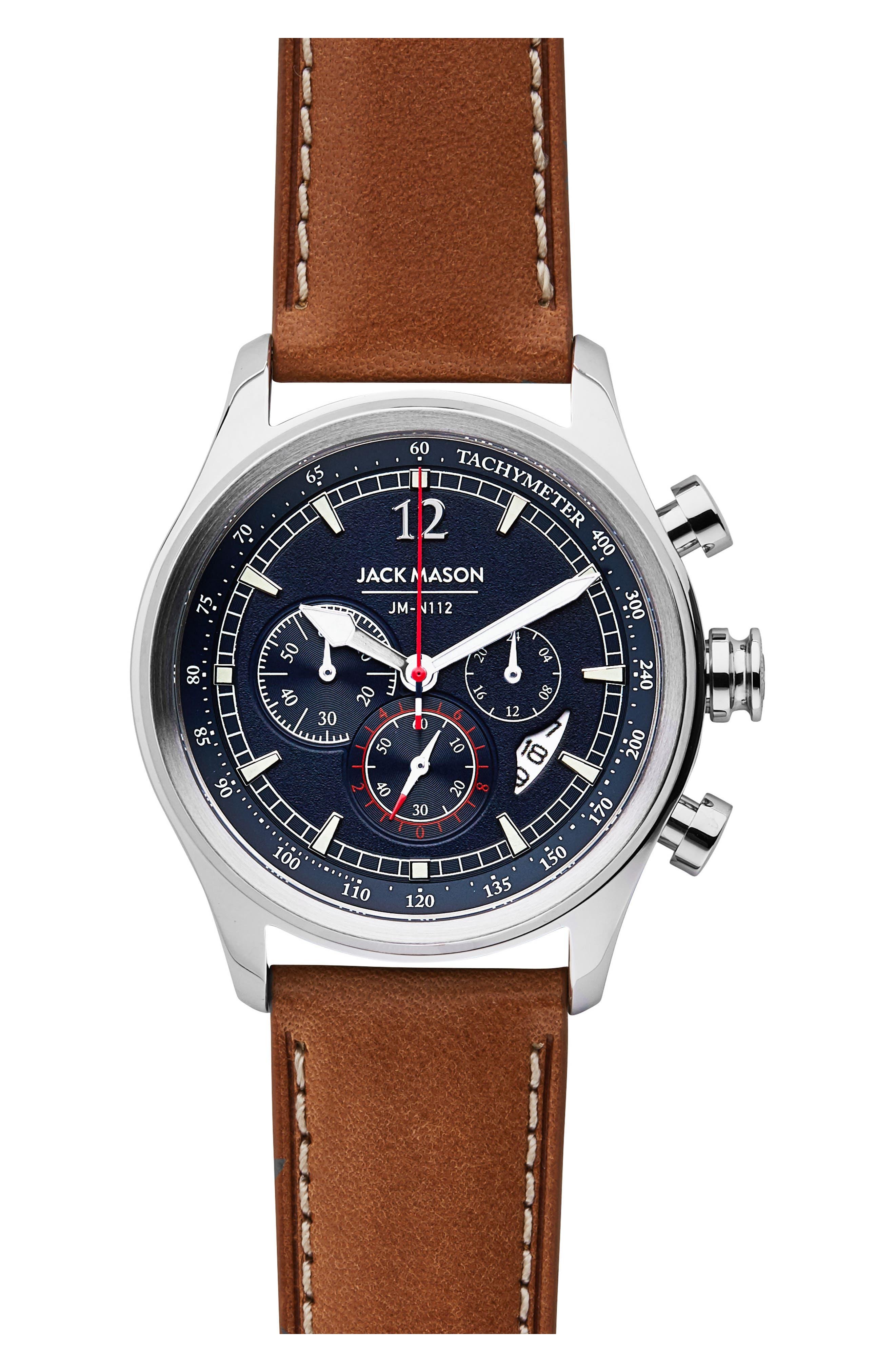 JACK MASON, Nautical Chronograph Leather Strap Watch, 42mm, Main thumbnail 1, color, GREY/ BROWN