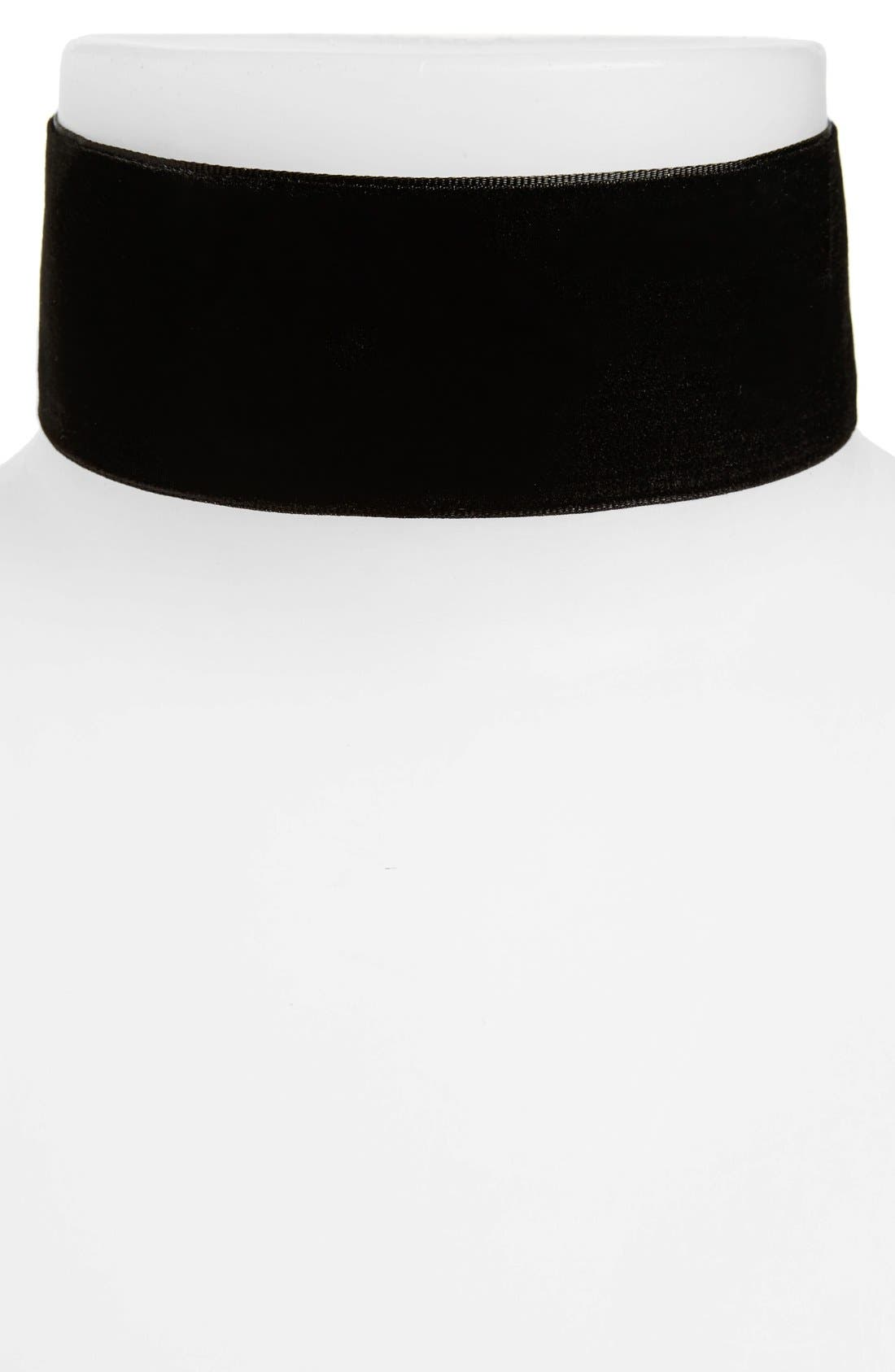 TOPSHOP, 'Thick and Thin' Velvet Chokers, Alternate thumbnail 2, color, 001