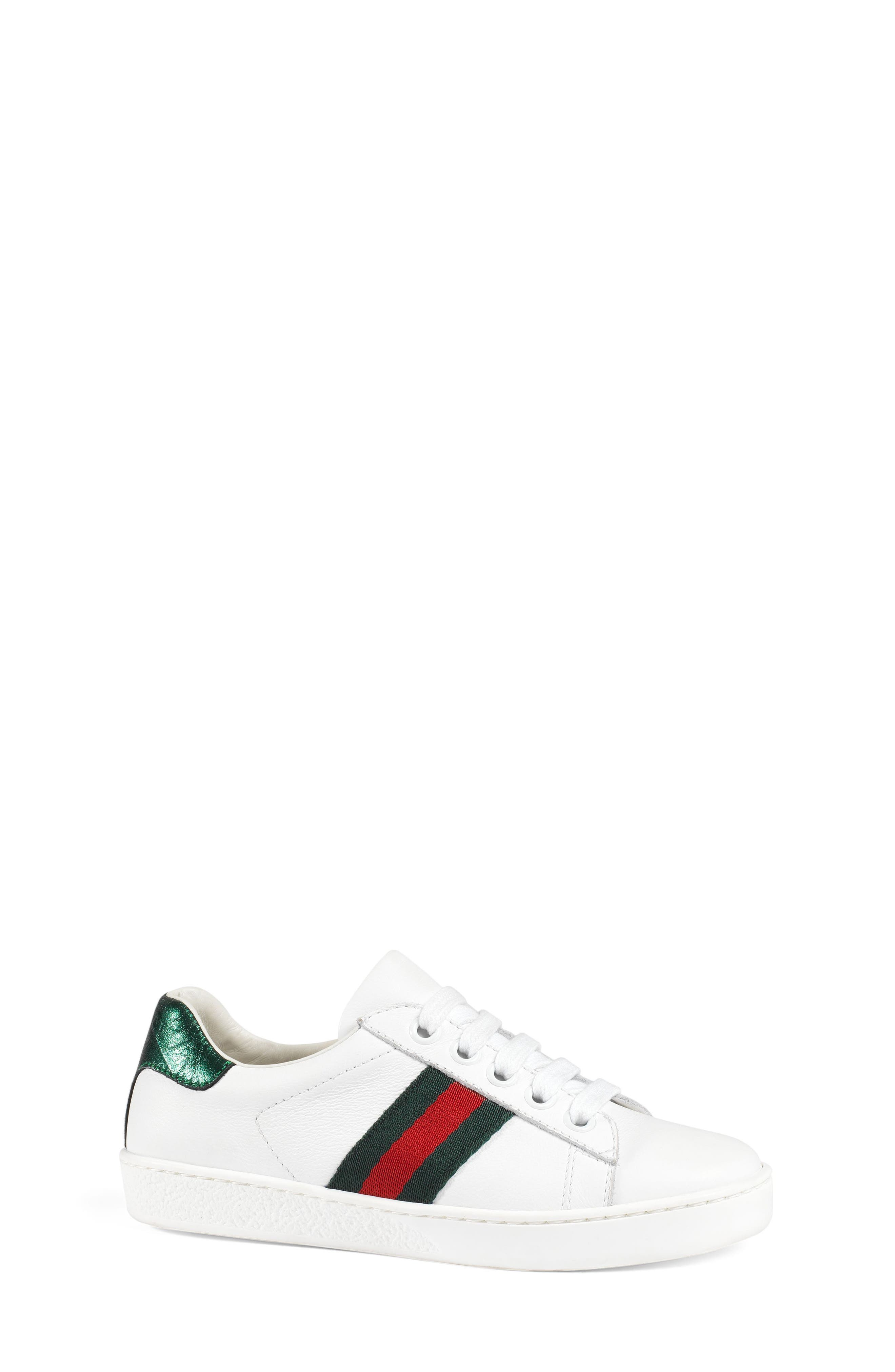GUCCI, 'Ace' Sneaker, Alternate thumbnail 5, color, WHITE/ GREEN