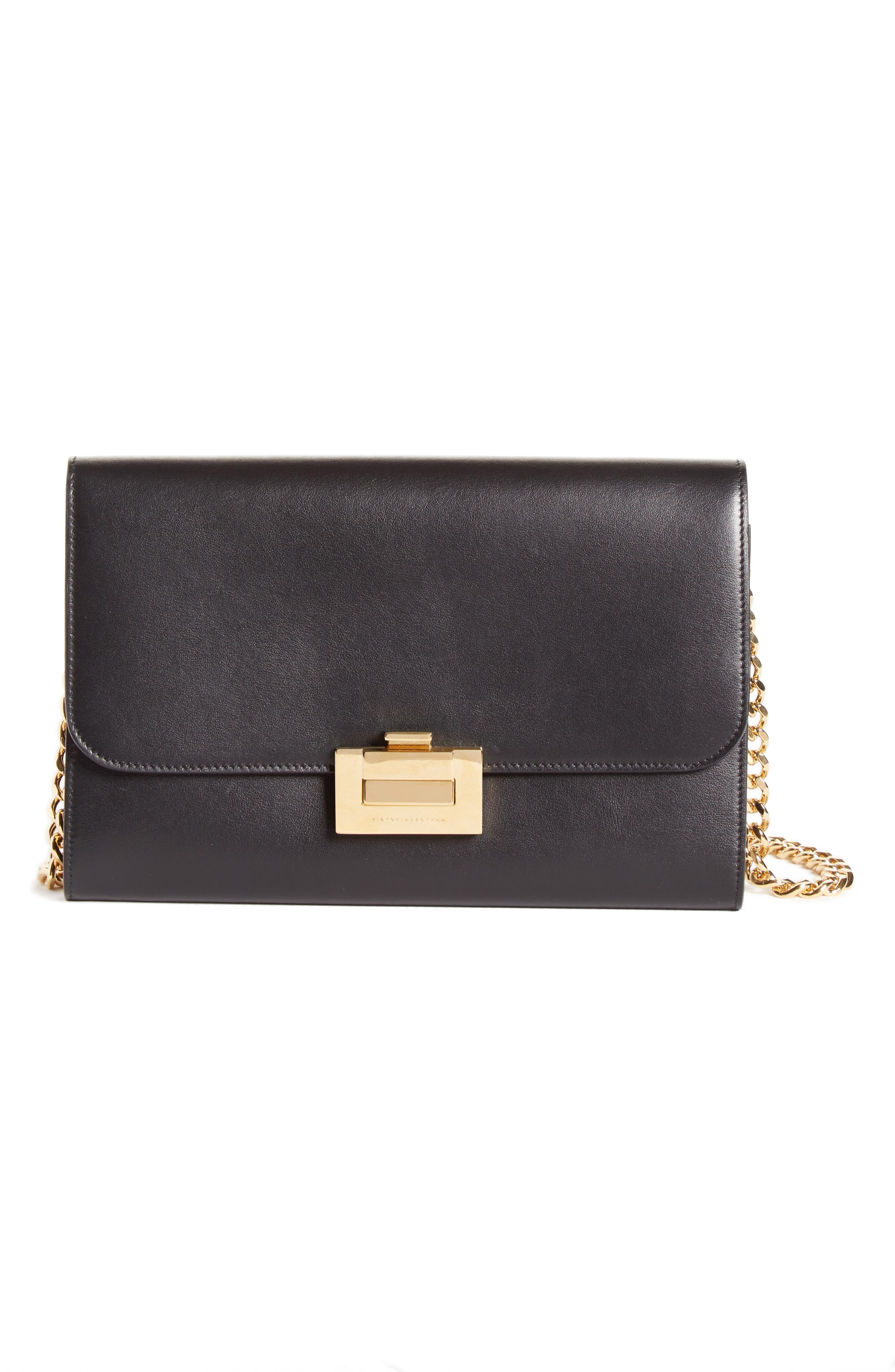 VICTORIA BECKHAM Leather Wallet on a Chain, Main, color, BLACK