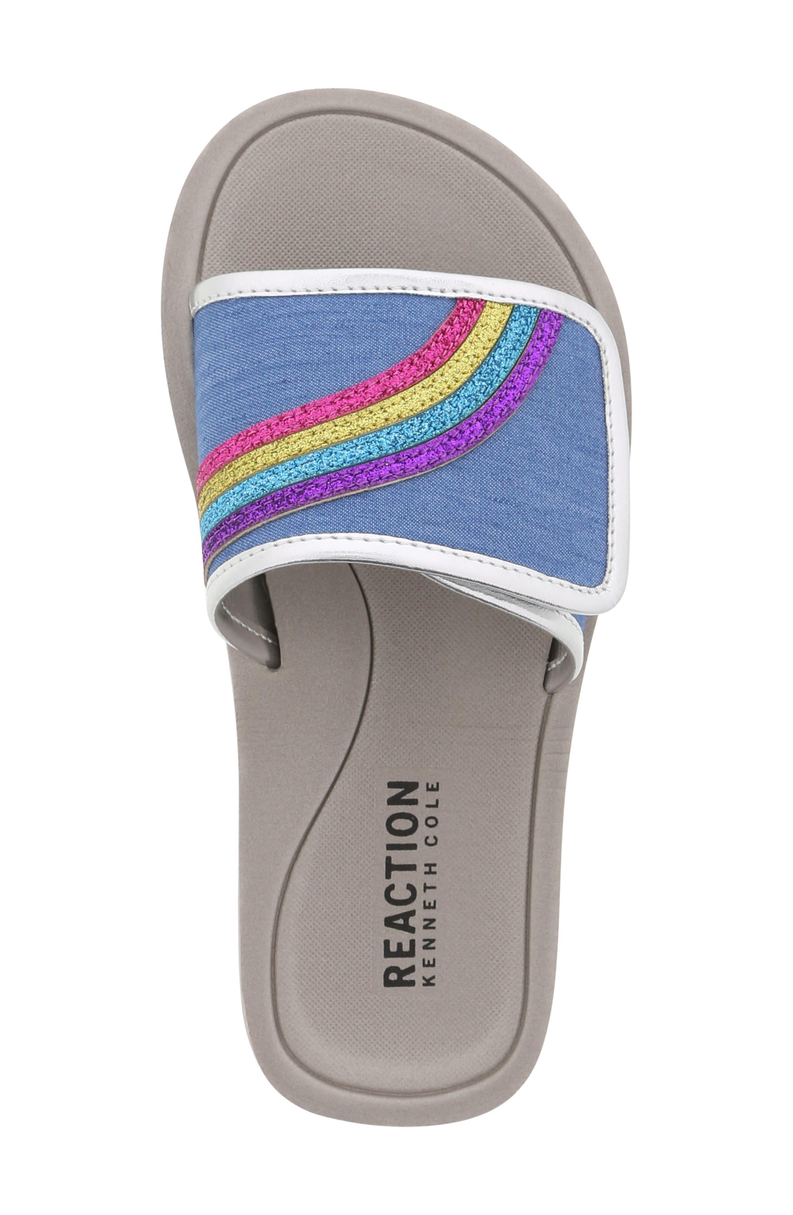 REACTION KENNETH COLE, Elise Karla Rainbow Slide Sandal, Alternate thumbnail 5, color, DENIM