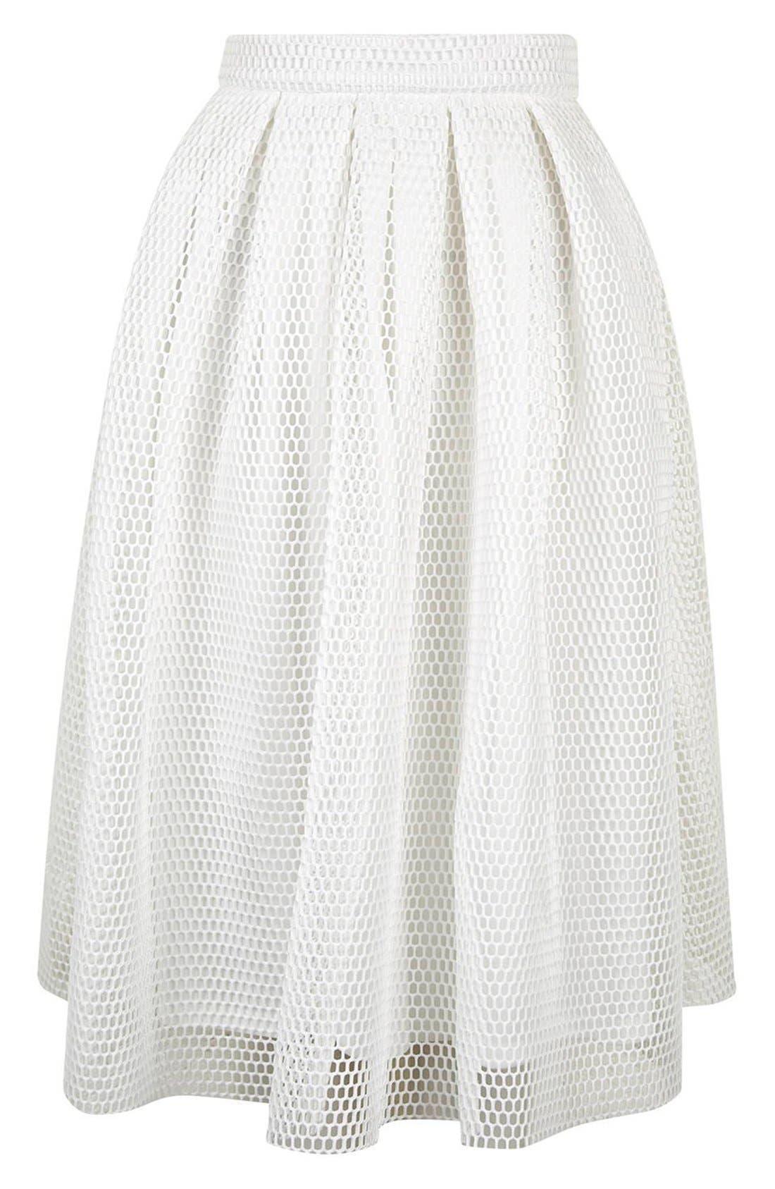 TOPSHOP, Airtex Pleat Midi Skirt, Alternate thumbnail 2, color, 100