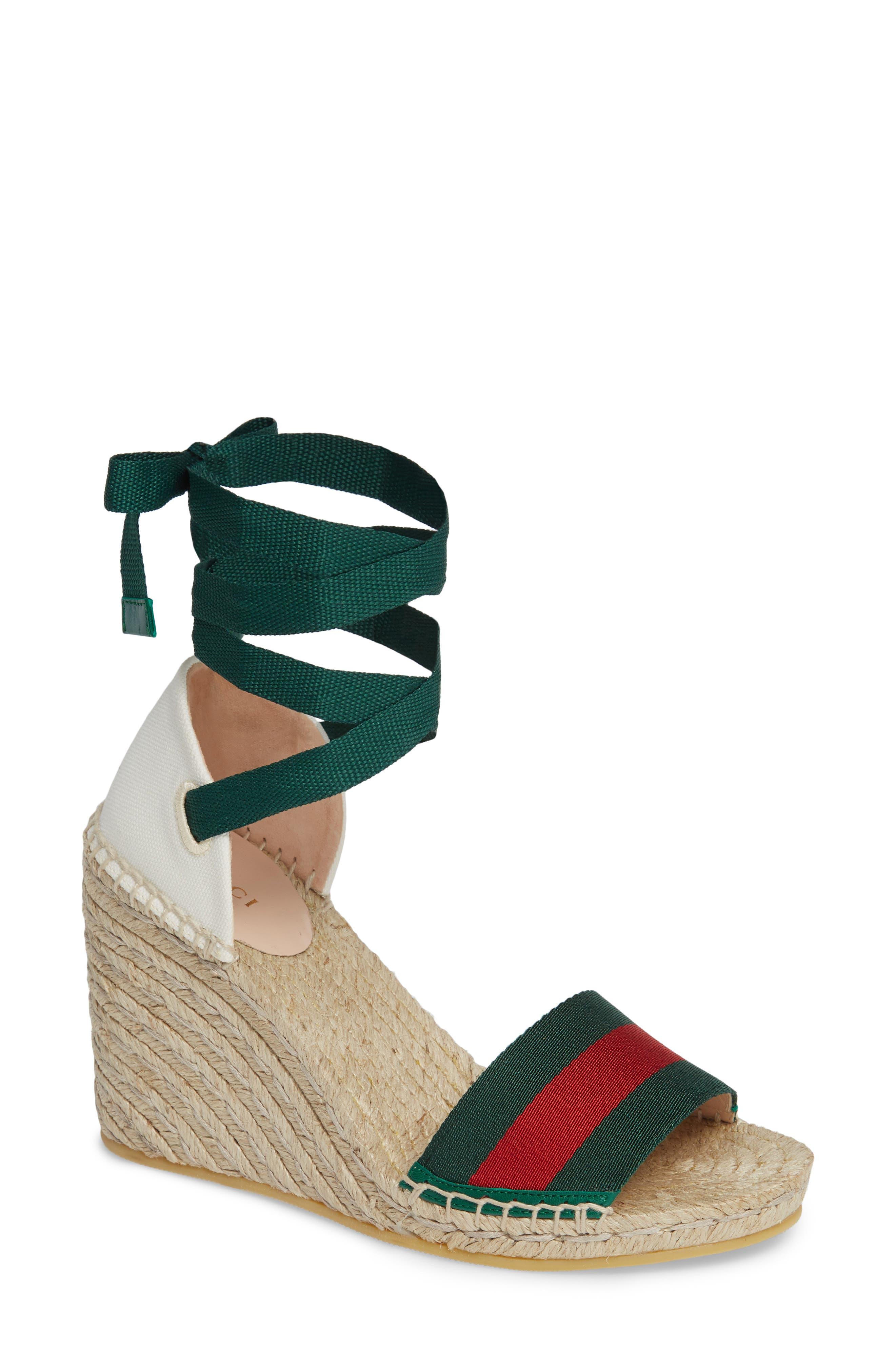 GUCCI, Lilibeth Sylvie Web Espadrille Wedge Sandal, Main thumbnail 1, color, WHITE/ GREEN