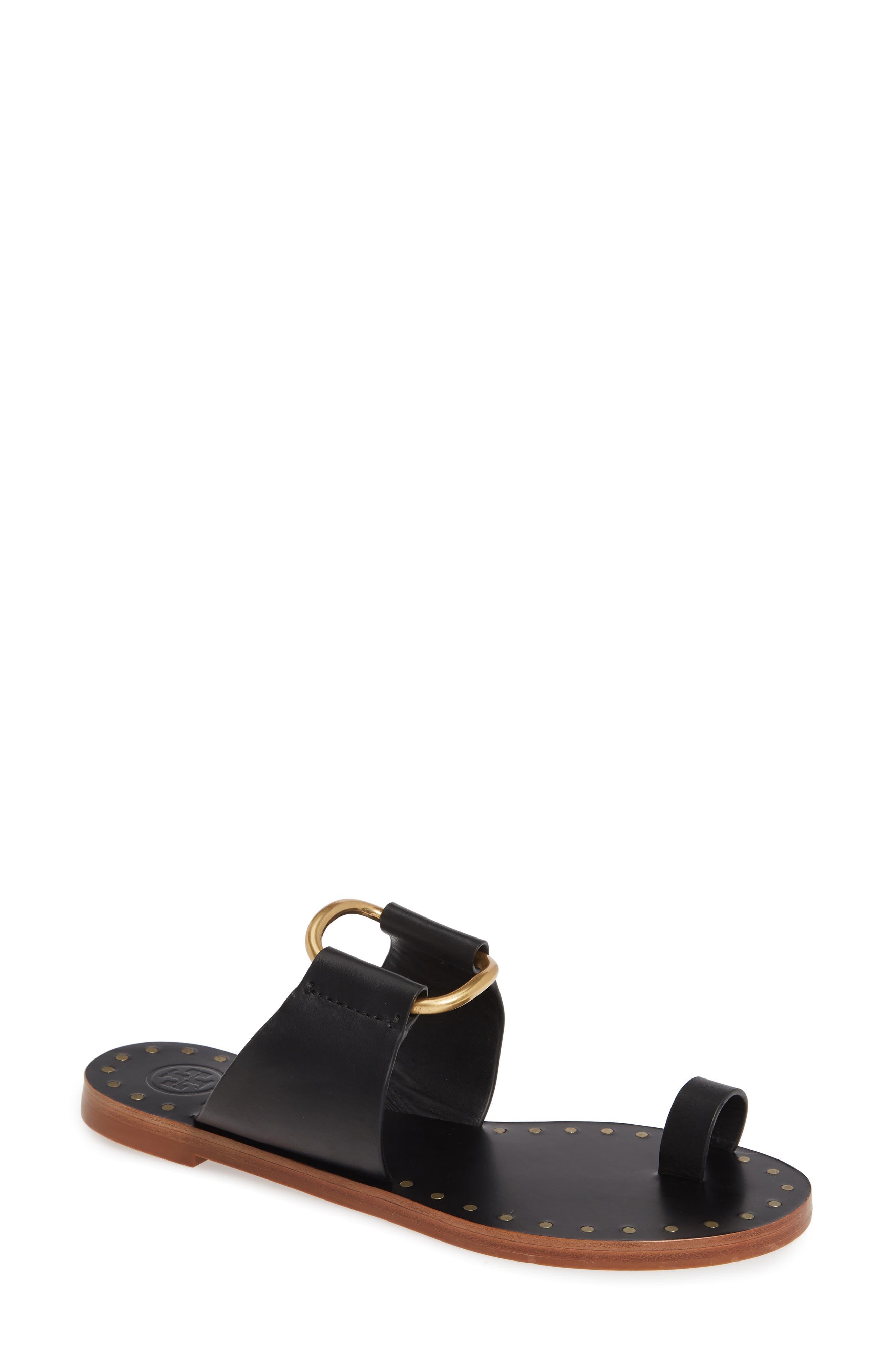 TORY BURCH, Ravello Toe Ring Sandal, Main thumbnail 1, color, PERFECT BLACK/ GOLD