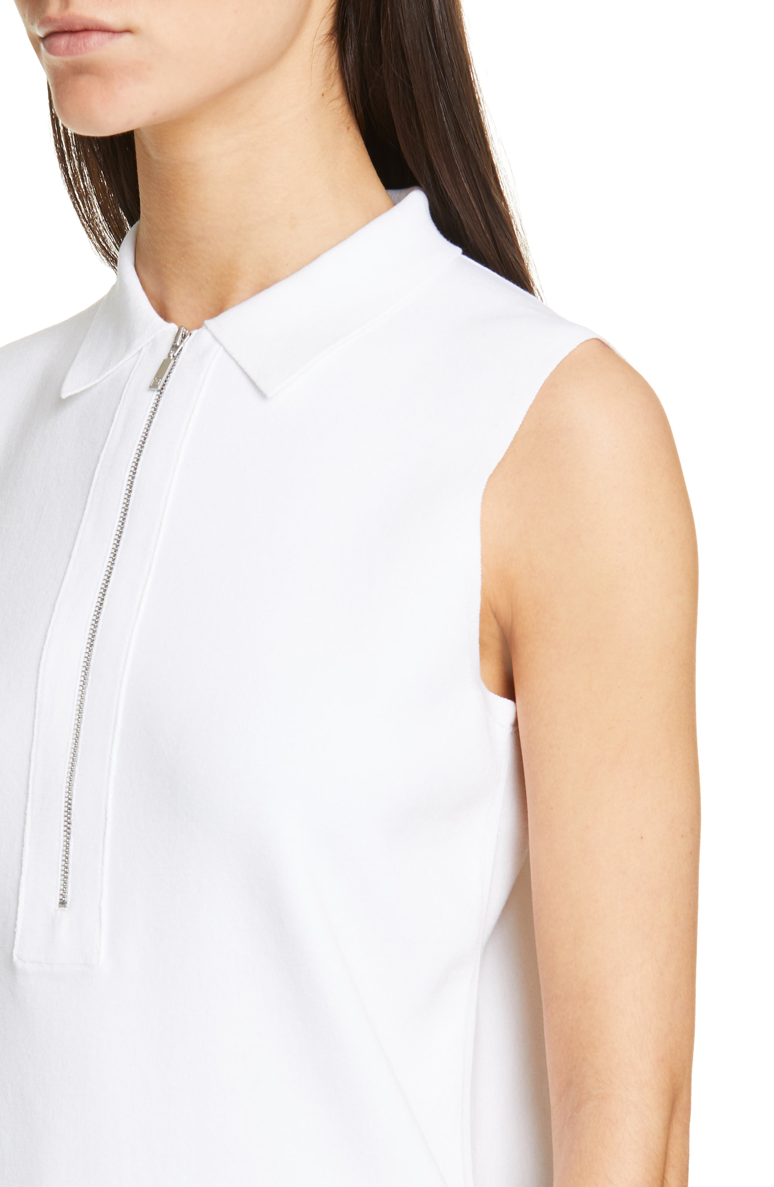 LAFAYETTE 148 NEW YORK, Lafayette Fitted Sleeveless Polo Sweater, Alternate thumbnail 4, color, WHITE