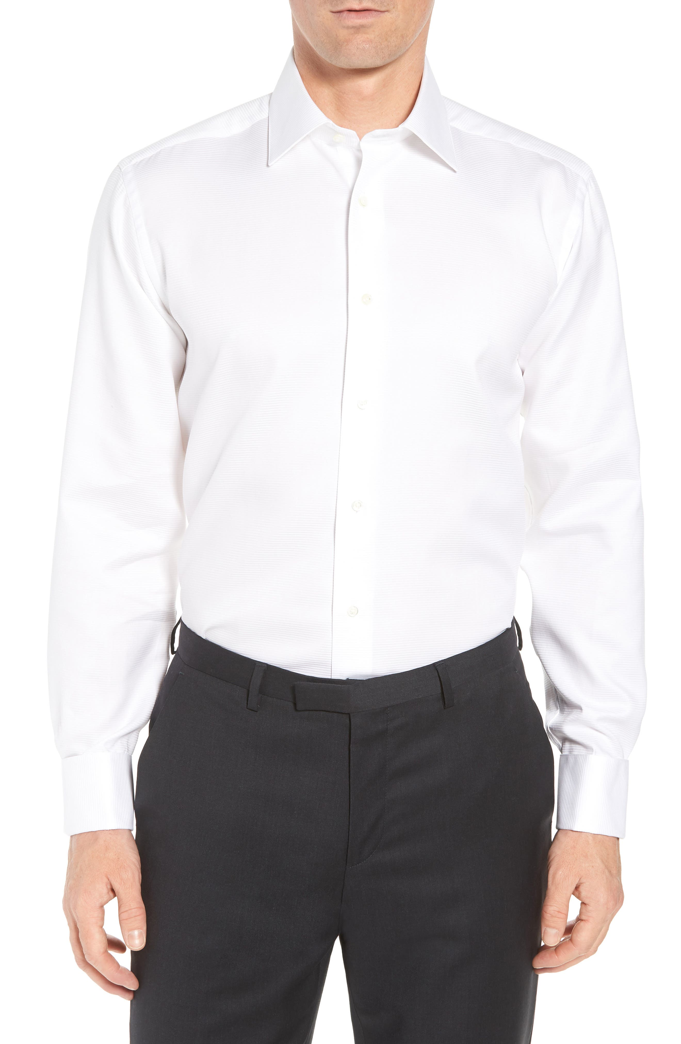 DAVID DONAHUE, Horizontal Twill Regular Fit Tuxedo Shirt, Main thumbnail 1, color, WHITE