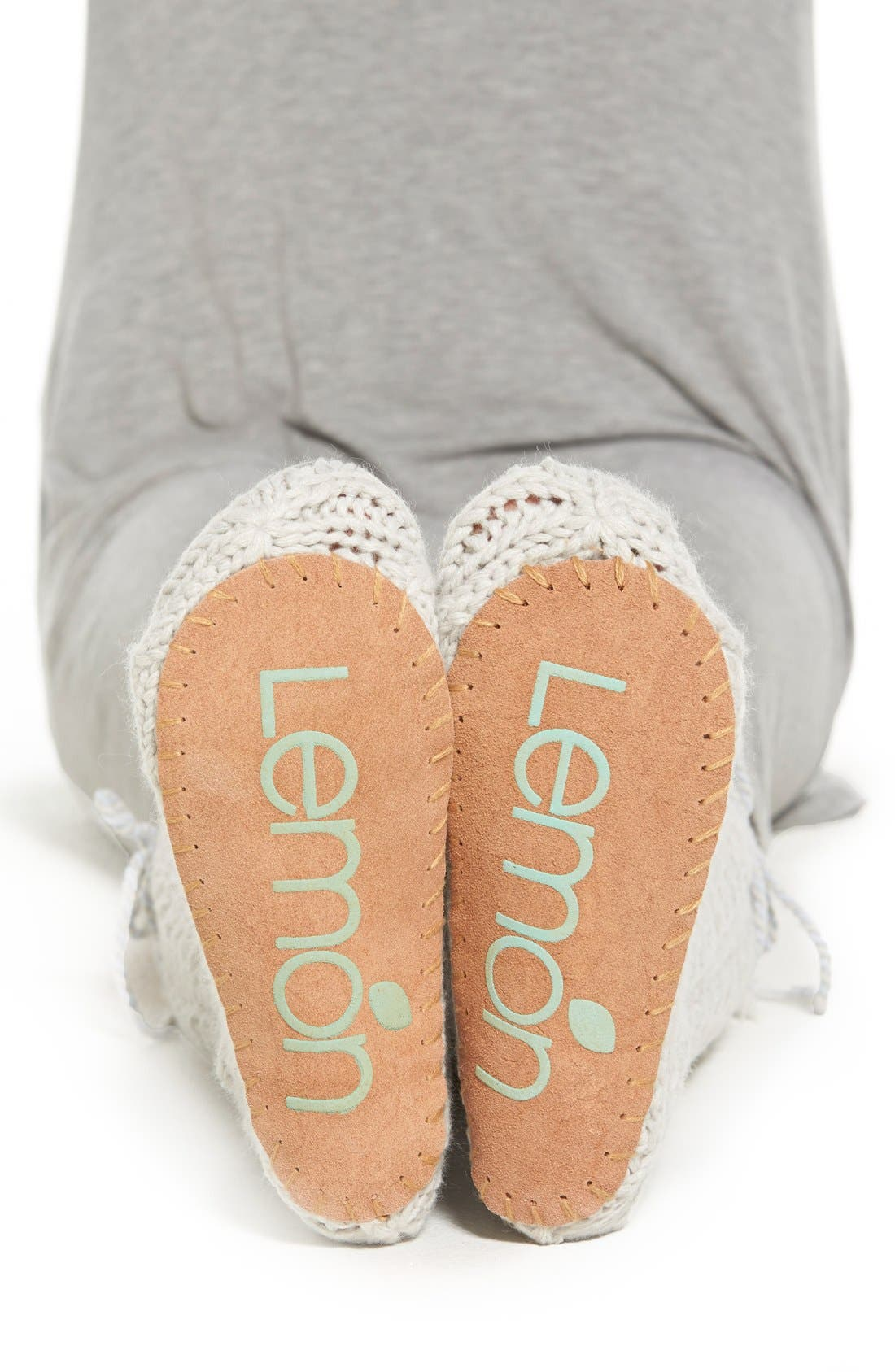 LEMON, 'Arctic' Cable Knit Knee High Slippers, Alternate thumbnail 3, color, 020