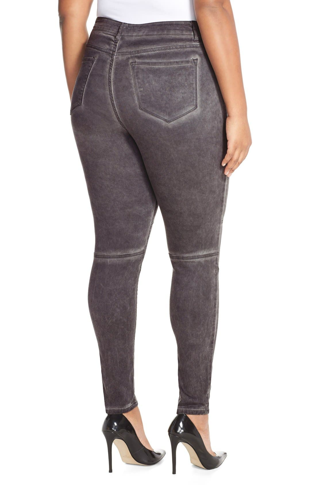 CITY CHIC, 'Silver' Stretch Skinny Jeans, Alternate thumbnail 3, color, 021